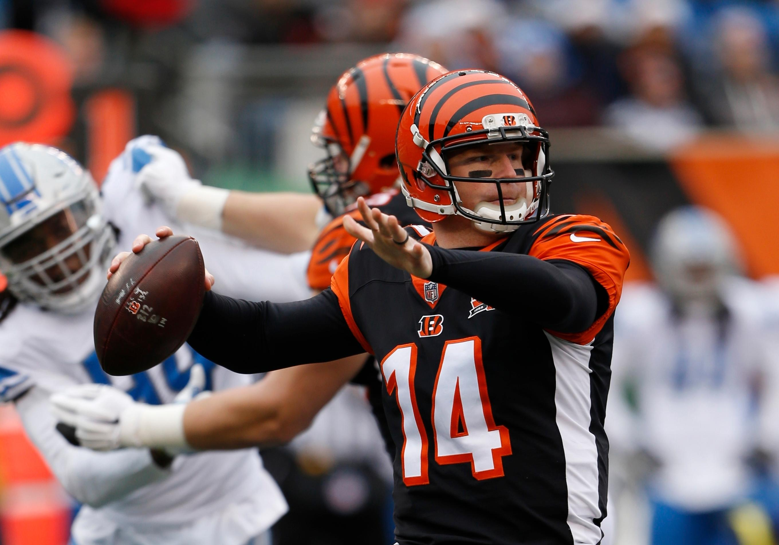 Cincinnati Bengals quarterback Andy Dalton throws during the first half of an NFL football game against the Detroit Lions, Sunday, Dec. 24, 2017, in Cincinnati. (AP Photo/Frank Victores)