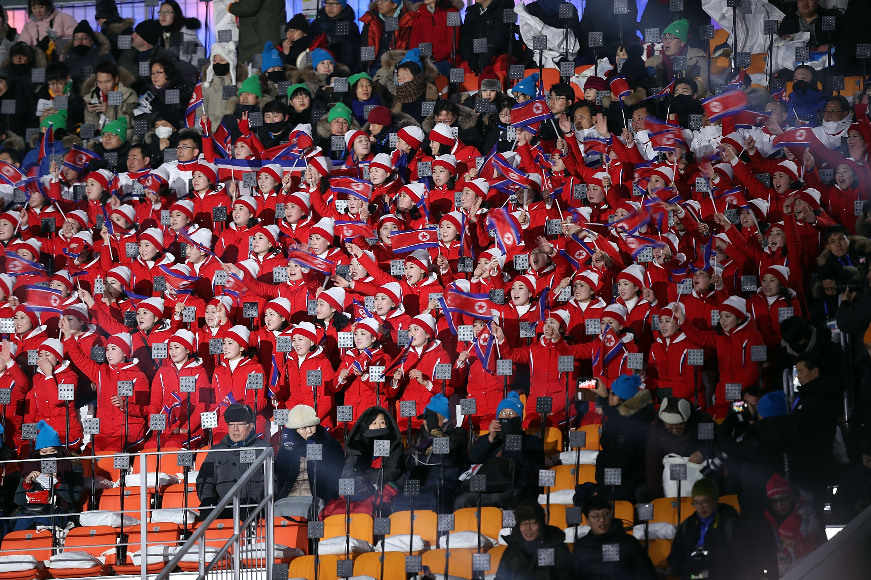 PYEONGCHANG-GUN, SOUTH KOREA - FEBRUARY 09:  North Korean school children are seen during the Opening Ceremony of the PyeongChang 2018 Winter Olympic Games at PyeongChang Olympic Stadium on February 9, 2018 in Pyeongchang-gun, South Korea.  fee liable image, copyright © ATP  Amin JAMALI  XXIII. OLYMPIC WINTER GAMES PYEONGCHANG 2018: OPENING CEREMONY,  PyeongChang, Korea, Winter Olympics; PyeongChang Olympic Stadium, on 9. February 2018, fee liable image, copyright © ATP / Amin JAMALI  Featuring: North Korean school children are seen Where: Pyeongchang, Gangwon Province, South Korea When: 09 Feb 2018 Credit: ATP/WENN.com  **Not available for publication in Germany or France. No Contact Music.**