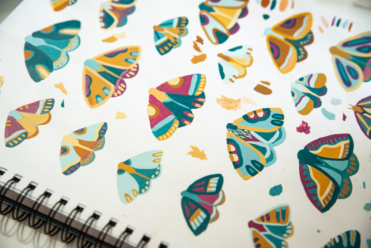 Hand-painted moths inspired by Laura's love of nature / Image: Melissa Sliney // Published: 3.26.20  <br><p></p>