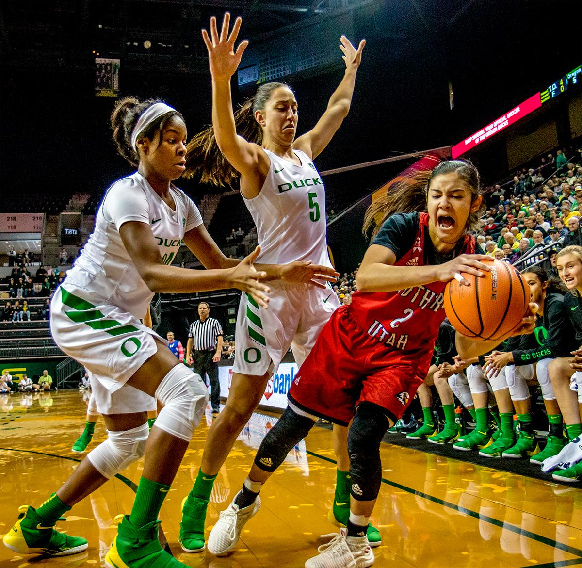 the thunderbird's Rebecca Cardenas (#2) takes a fall out of bounds. The University of Oregon Ducks women basketball team defeated the Southern Utah Thunderbirds 98-38 in Matthew Knight Arena Saturday afternoon. The Ducks had four players in double-digits: Ruthy Hebard with 13; Mallory McGwire with 10; Lexi Bando with 17 which included four three-pointers; and Sabrina Ionescu with 16 points. The Ducks overwhelmed the Thunderbirds, shooting 50% in field goals to South Utah's 26.8%, 53.8% in three-pointers to 12.5%, and 85.7% in free throws to 50%. The Ducks, with an overall record of 8-1, and coming into this game ranked 9th, will play their next home game against Ole Miss on December 17. Photo by August Frank, Oregon News Lab