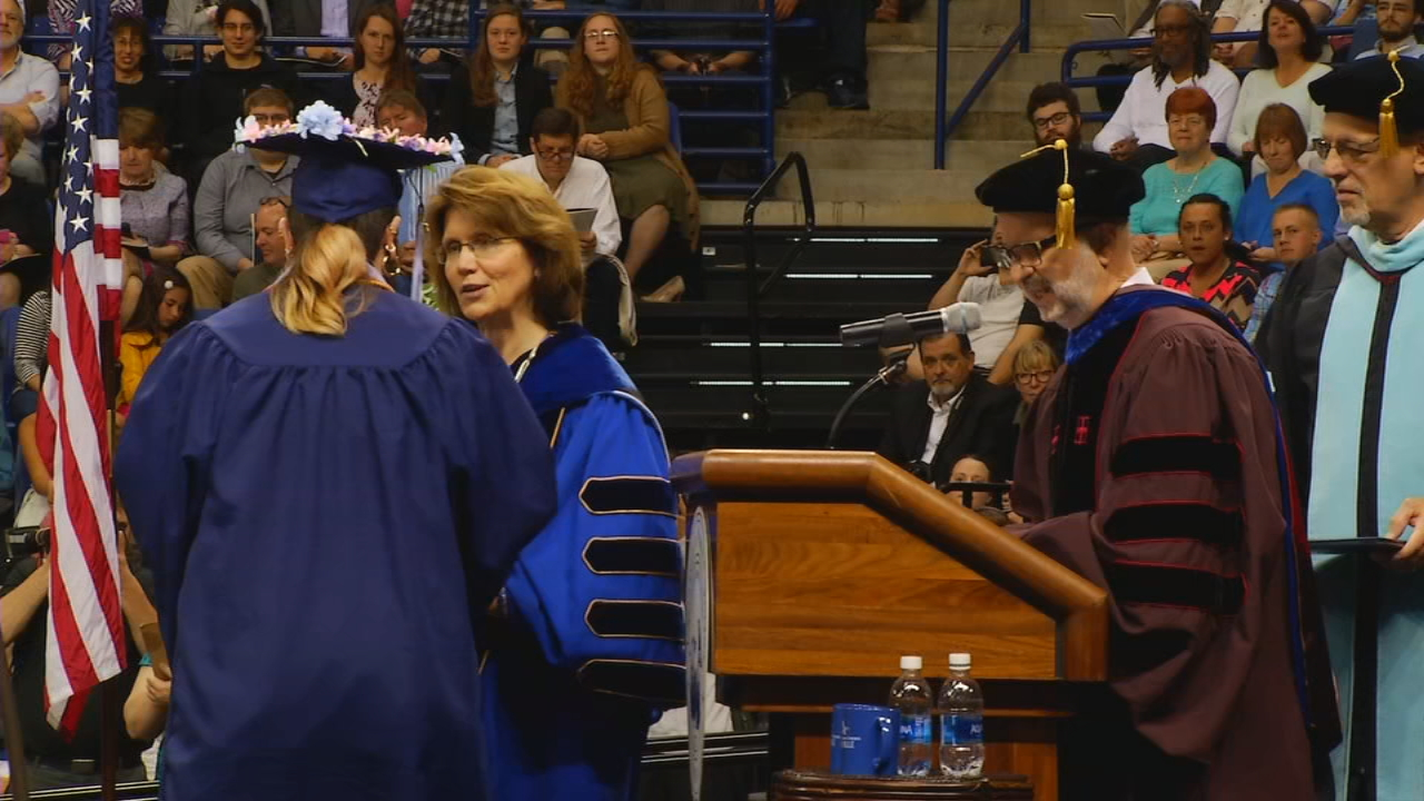 FILE - About 200 graduates will walk across the stage at UNC Asheville's fall commencement Friday. It will also be the last ceremony for chancellor Mary Grant, who is leaving at the end of the year to take a position in Boston. (Photo credit: WLOS staff)