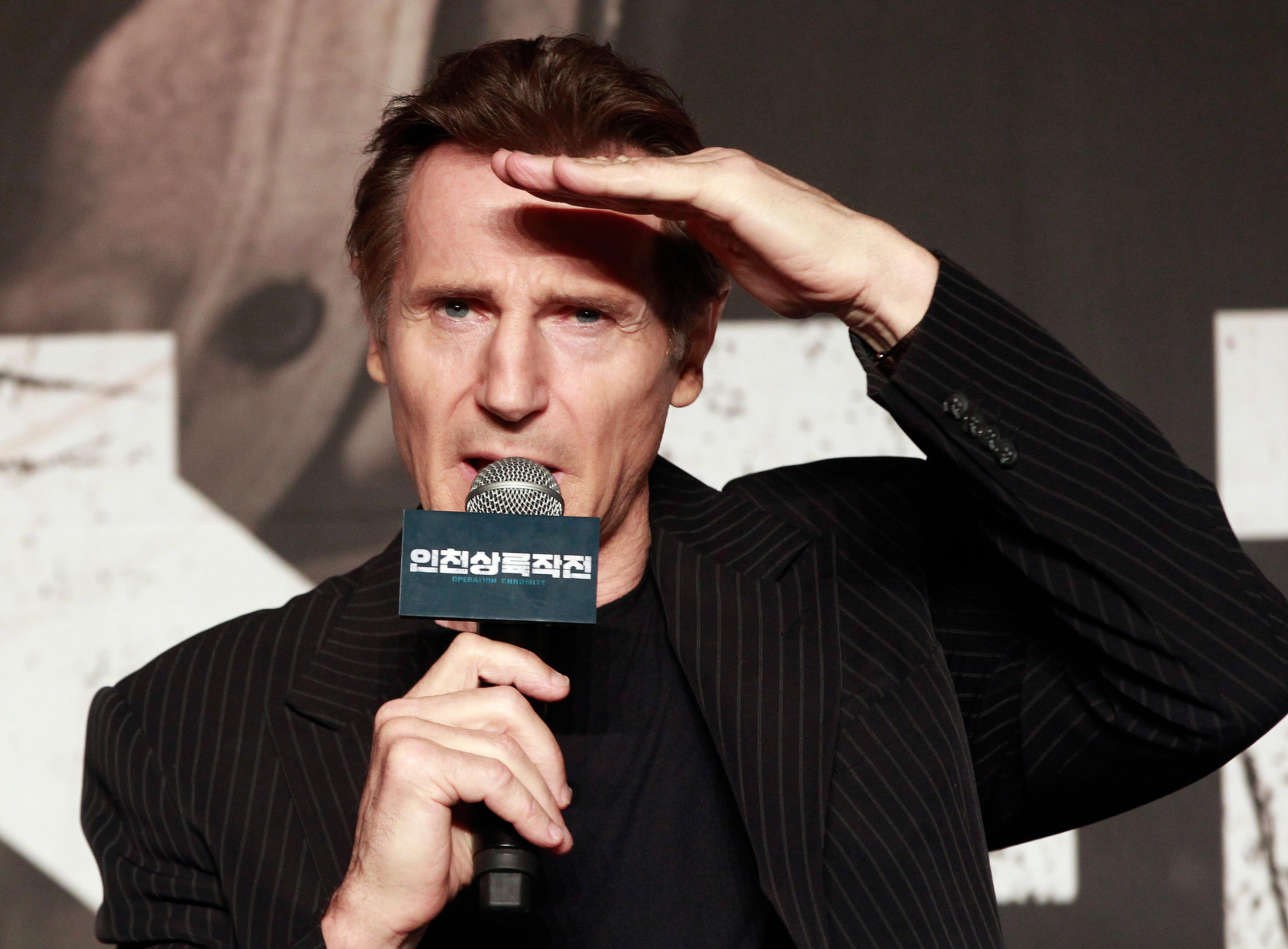 "FILE - In this Wednesday, July 13, 2016 file photo, Irish actor Liam Neeson speaks during a press conference to promote his new film ""Operation Chromite"" in Seoul, South Korea. Actor Liam Neeson says that the Hollywood sexual harassment scandal has sparked ""a bit of a witch hunt."" (AP Photo/Ahn Young-joon, File)"
