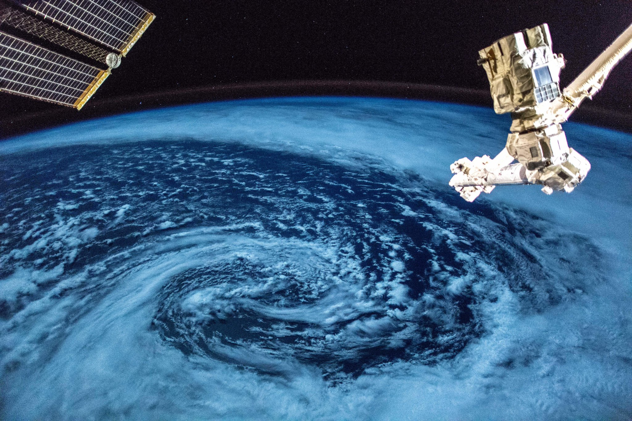 Low pressure system over the Atlantic, at night.  (Photo & Caption: Alexander Gerst / NASA)