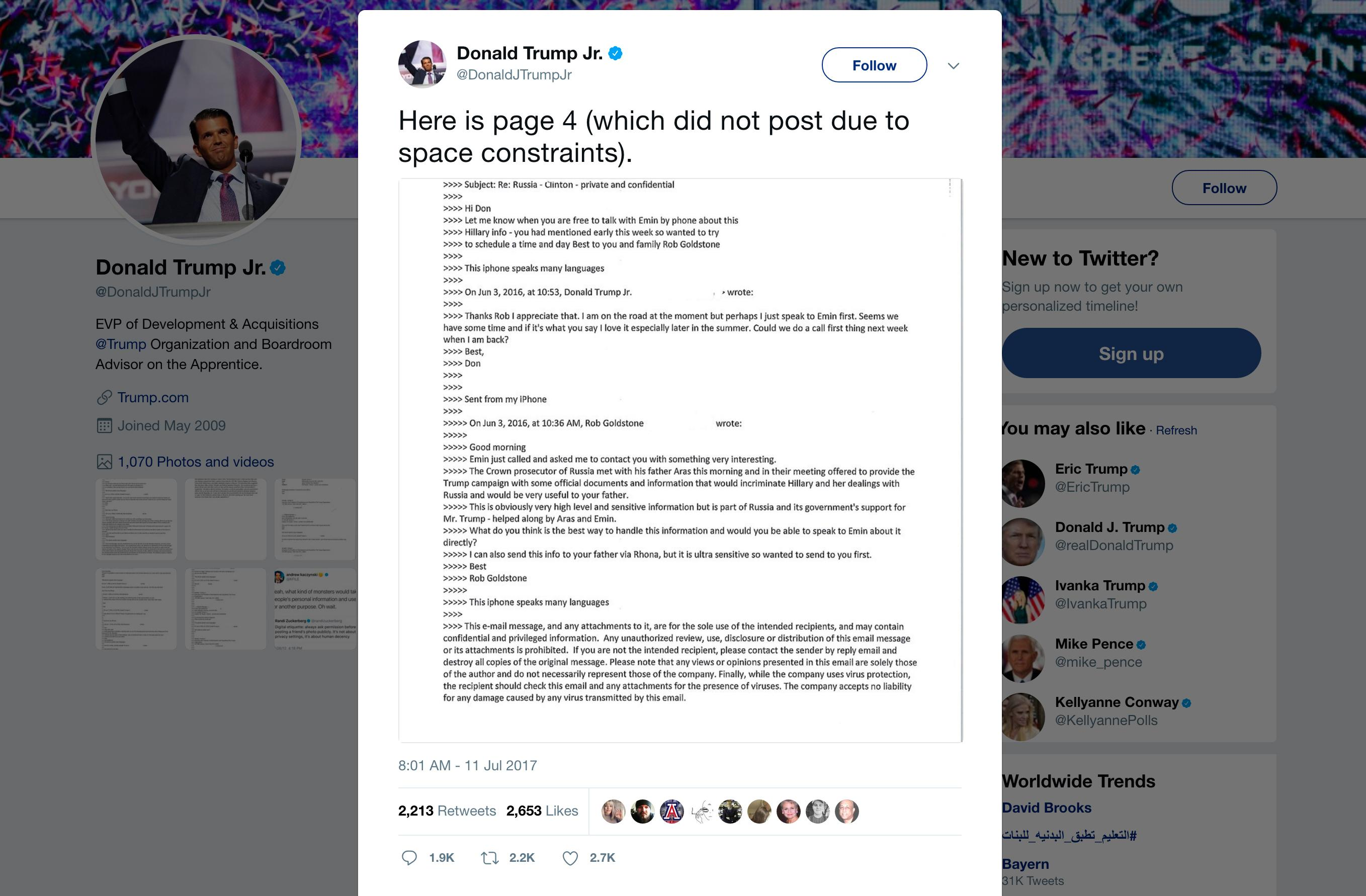 "This screenshot shows a tweet posted Tuesday, July 11, 2017, by Donald Trump Jr. on his Twitter account, in which he reveals an email chain with publicist Rob Goldstone in June 2016. In the email, he discusses plans to hear damaging information on Hillary Clinton that were described as ""part of Russia and its government's support for Mr. Trump.""  (Twitter via AP)"