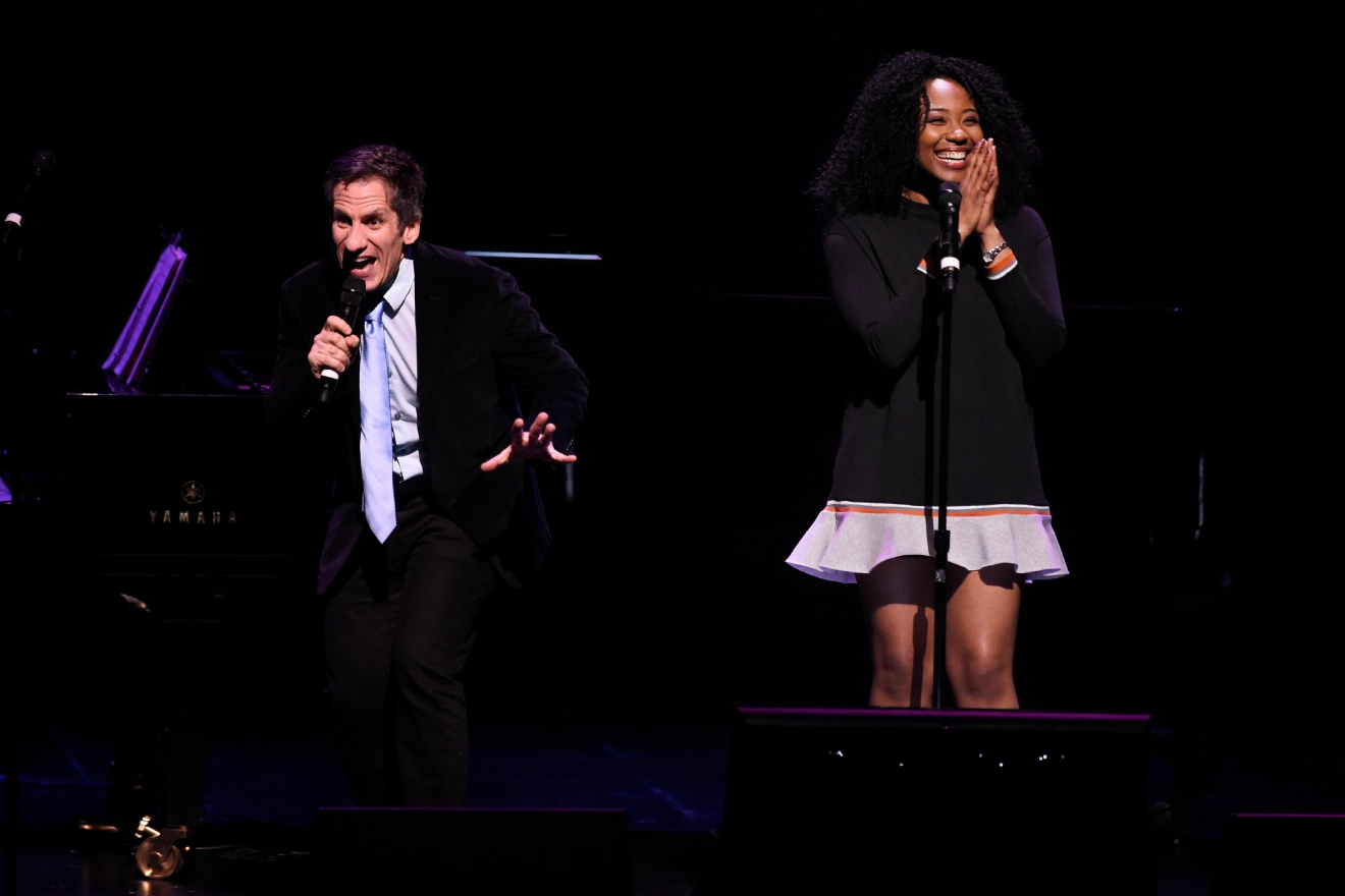 MC Seth Rudetsky makes a joke while Adrianna Hicks waits to sing during a preview for the Smith Center for the Performing Arts 2017-2018 Broadway series preview Tuesday, Feb. 28, 2017, in Reynolds Hall. (Sam Morris/Las Vegas News Bureau)