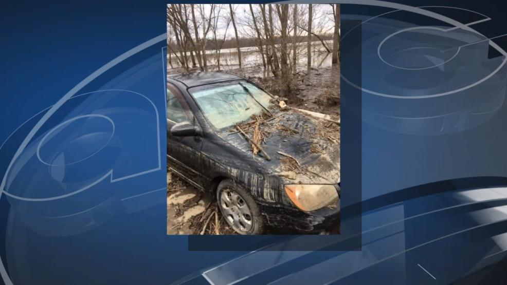 A car was revealed Wednesday as the water receded. (WSYX/WTTE)