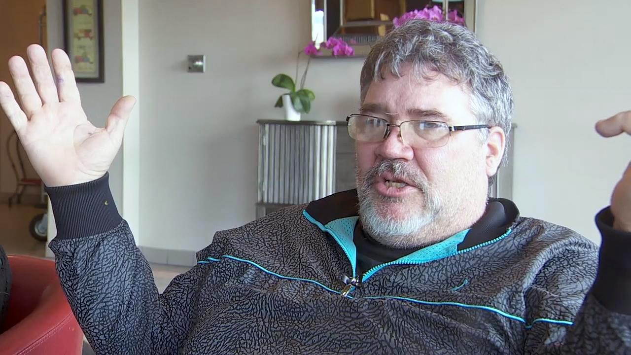 Patrick Sheehan Jr. speaks to KATU on Tuesday after he survived a tractor-trailer crashing into his disabled SUV parked along Interstate 84 on Monday evening. (KATU Photo)
