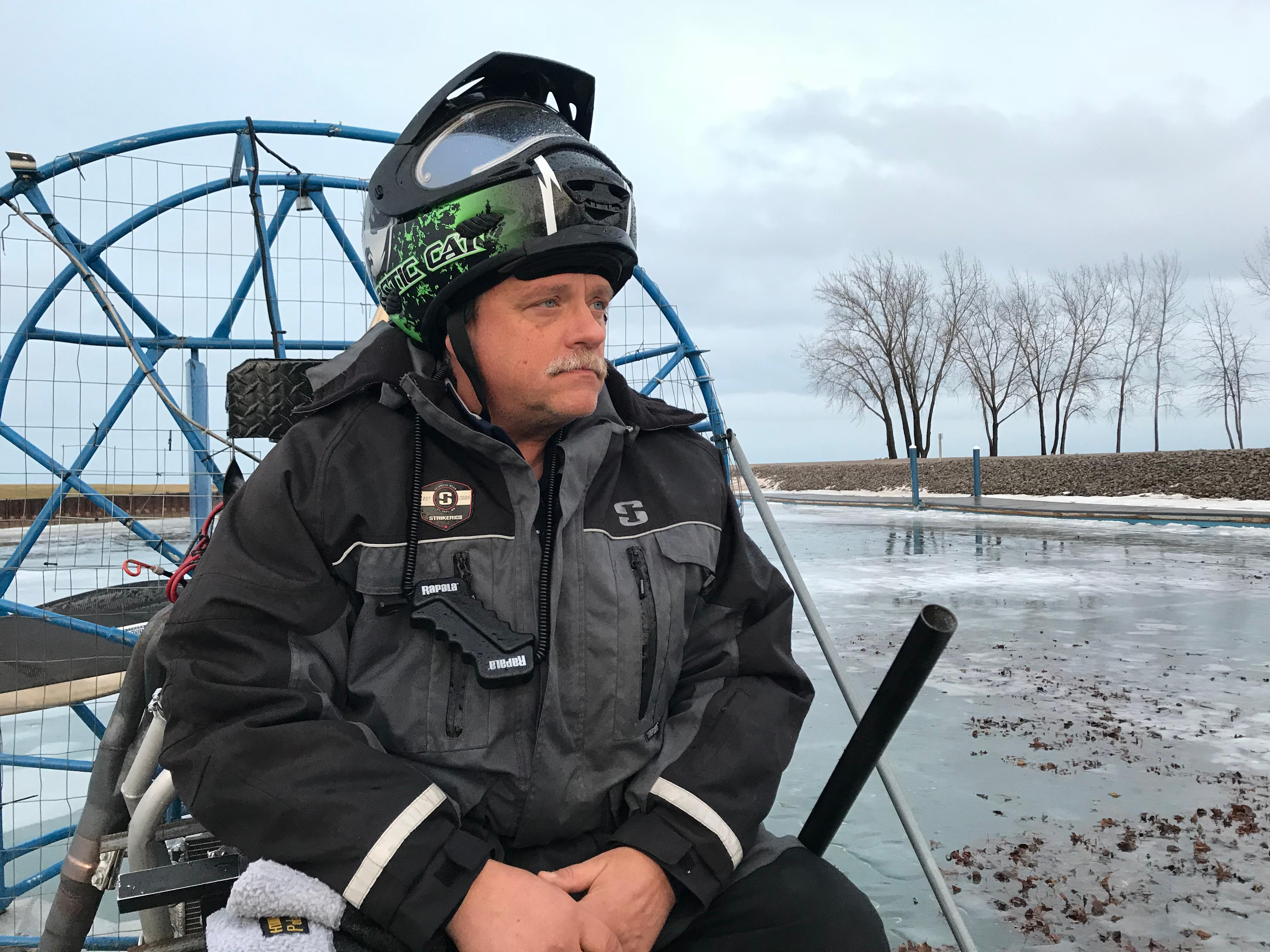 Local heroes use their own air boats to save ice fisherman Wednesday night. (Photo credit: Jesse Gonzales)<p></p>