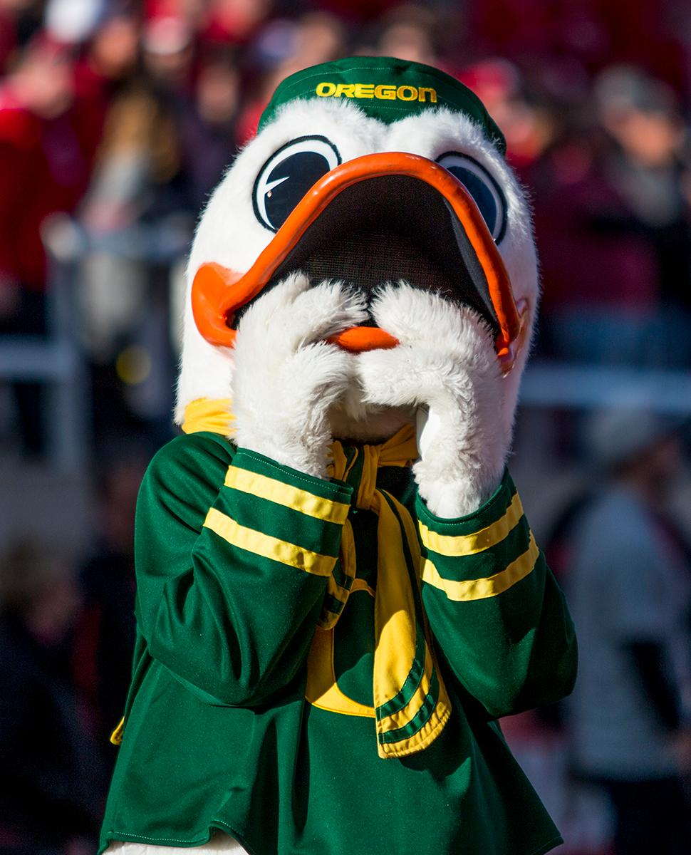 The Oregon Duck watches as a touchdown being reviewed by the referees is played on the jumbotron. The Oregon Ducks beat the Utah Utes 30-28 on Saturday afternoon in Salt Lake City, UT at Rice-Ecce Stadium. Photo by Katie Pietzold