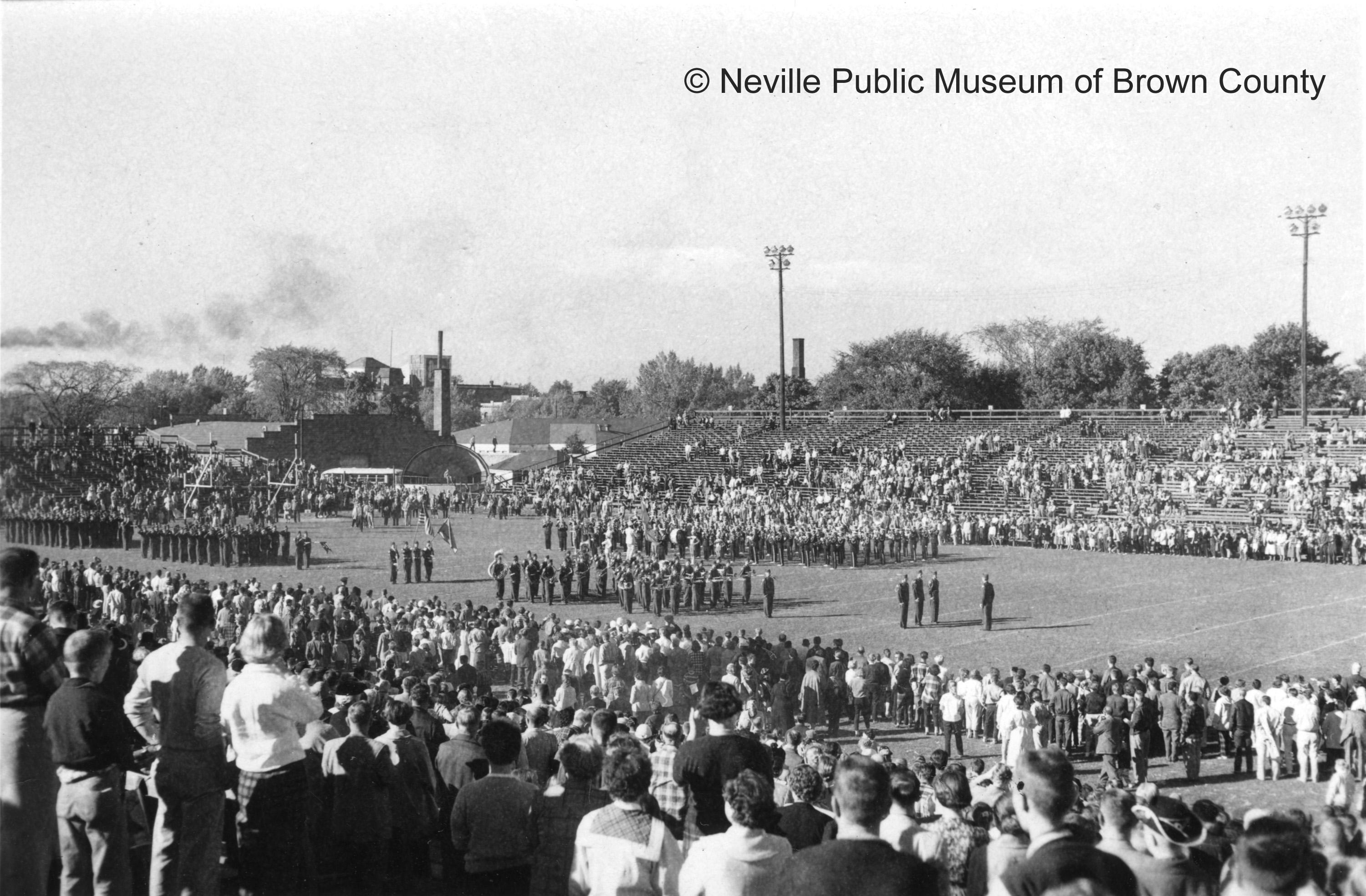 Military band performs at City Stadium (date unknown). (Courtesy: Neville Public Museum of Brown County)