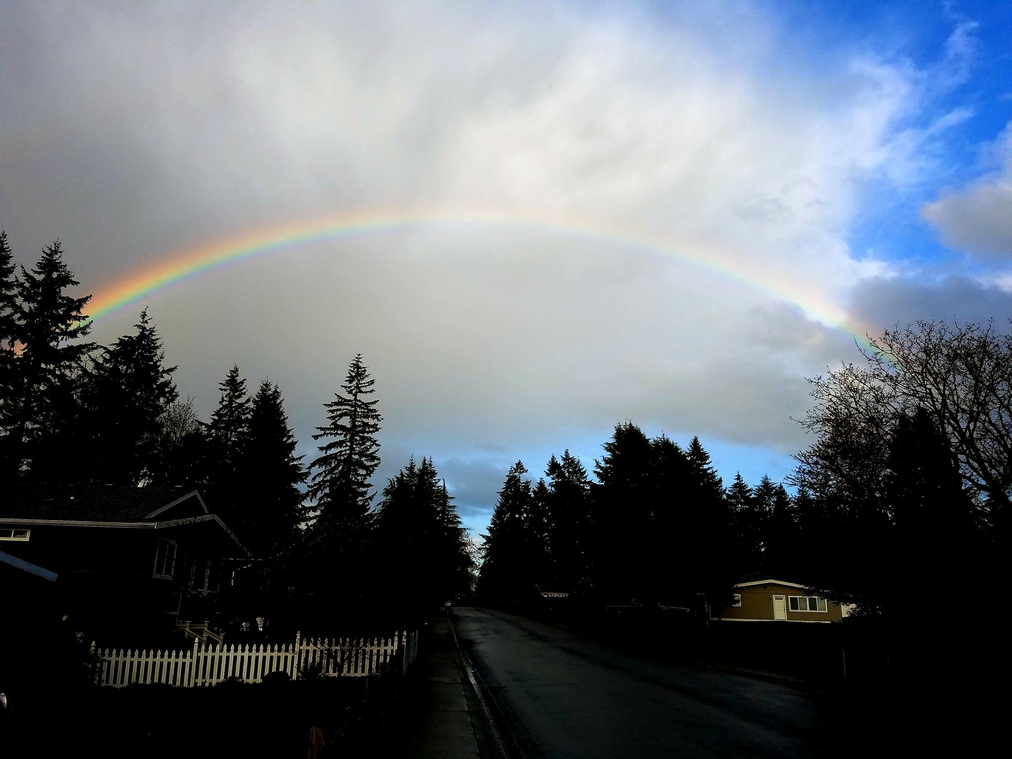 A rainbow arcs across the sky in the Finn Hill neighborhood in Kirkland, Wash., Tuesday, April 18, 2017. (Photo: Jordan Riley)