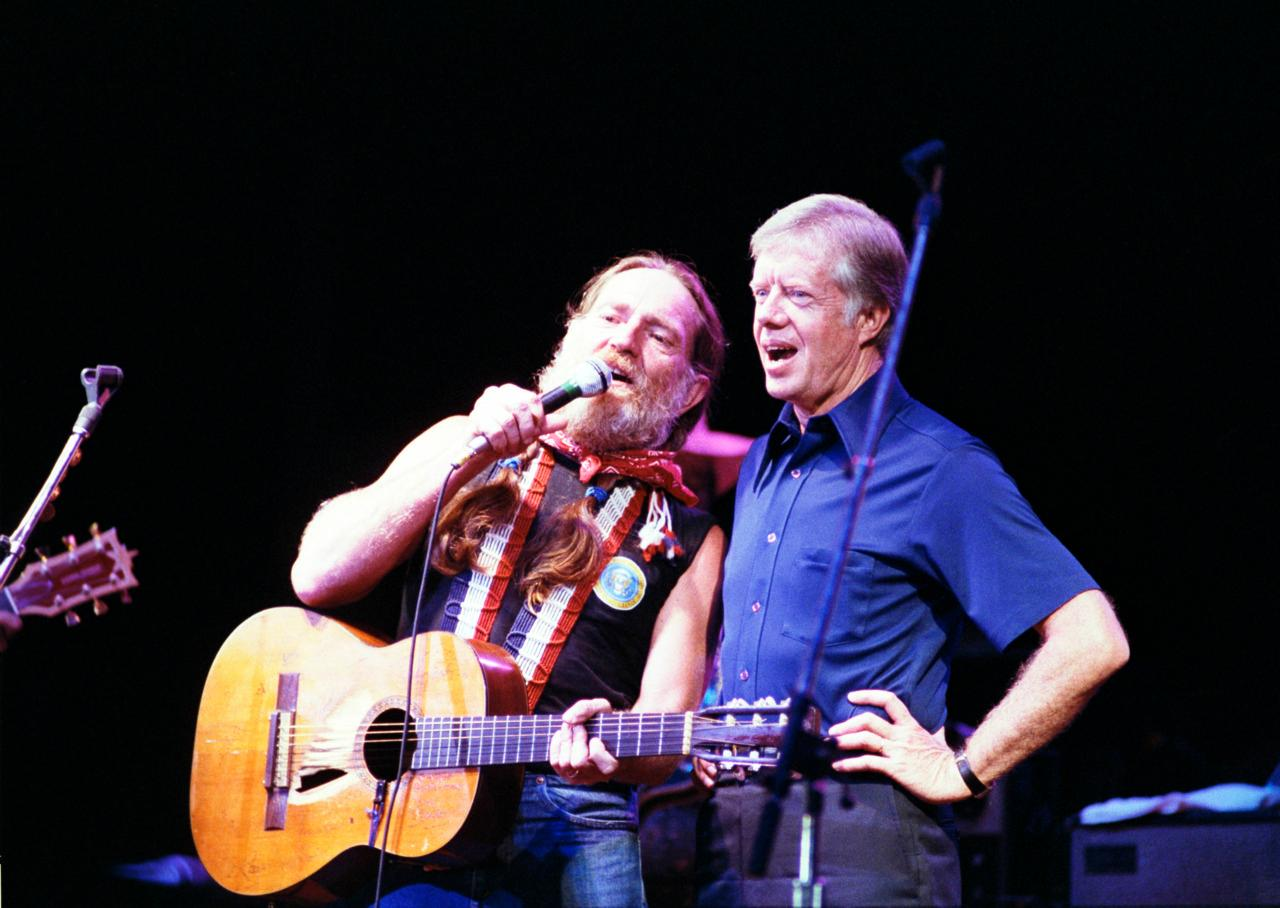 "Although this photo isn't dated, President Carter attended a Willie Nelson concert at Merriwether Post Pavilion in 1980.  The unlikely pair sang a duet for ""Georgia on my Mind."" (Courtesy of Merriwether Post Pavilion)"