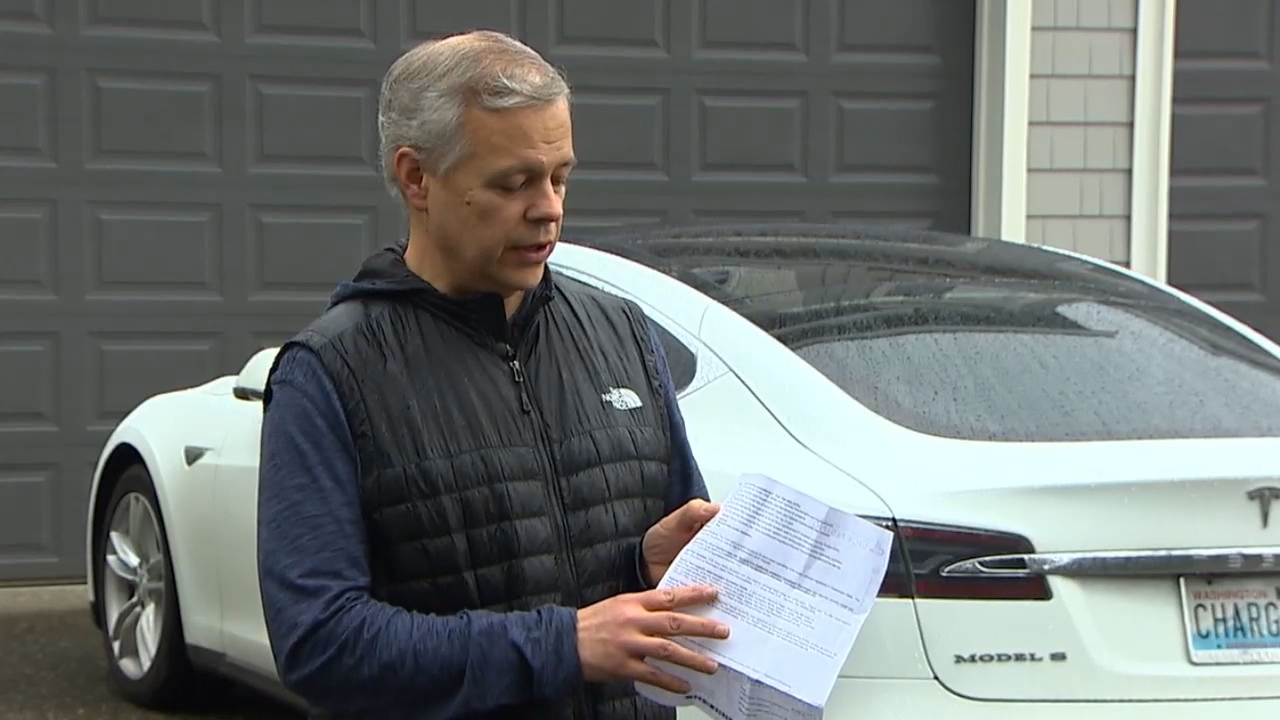 Driver Robert Klem paid about $500 for car-tabs last year. He's now being charged more than $1,500, he said. (KOMO Photo).
