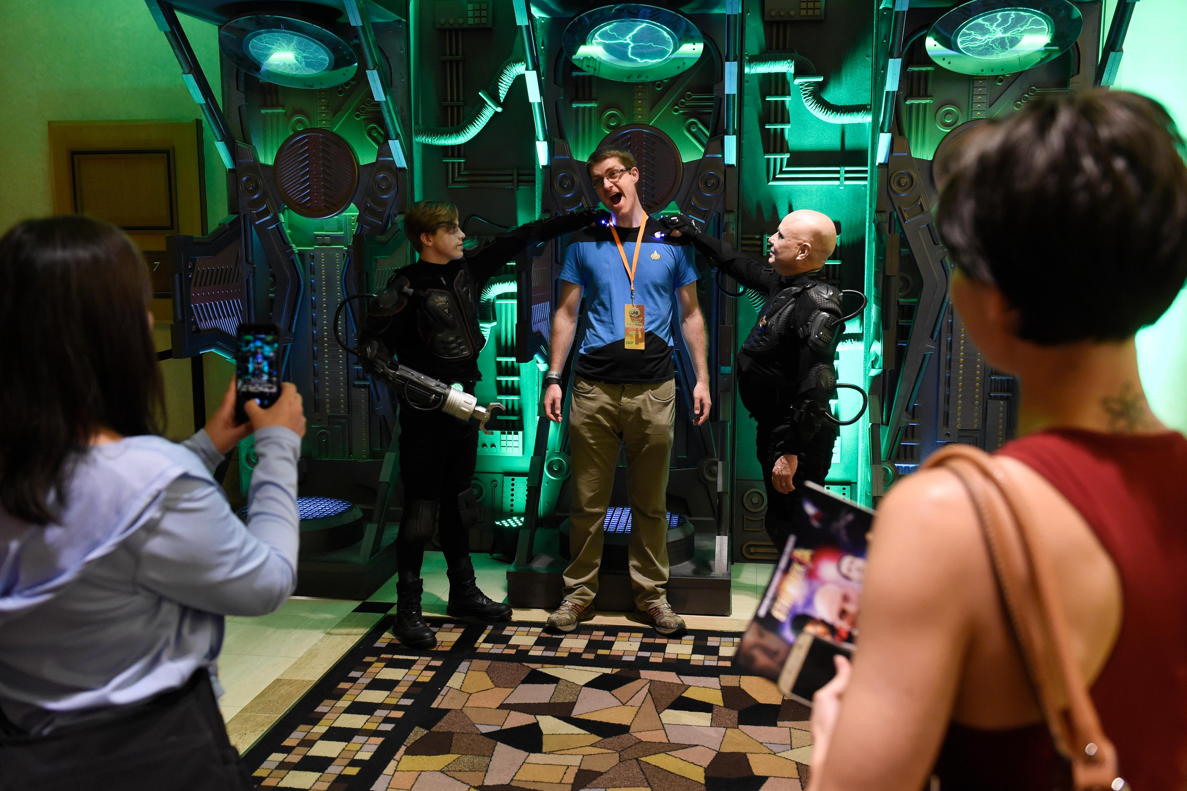 An attendee has his photo taken in a Borg assimilation machine during the 16th annual Las Vegas Star Trek Convention Saturday, August 5, 2017, at the Rio.  CREDIT: Sam Morris/Las Vegas News Bureau