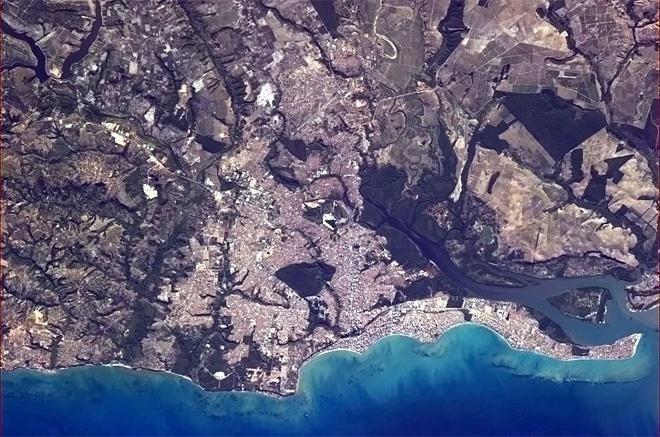 Joao Pessoa, Brazil, easternmost city in the Americas - where the sun rises first.  (Photo & Caption: Chris Hadfield/NASA)