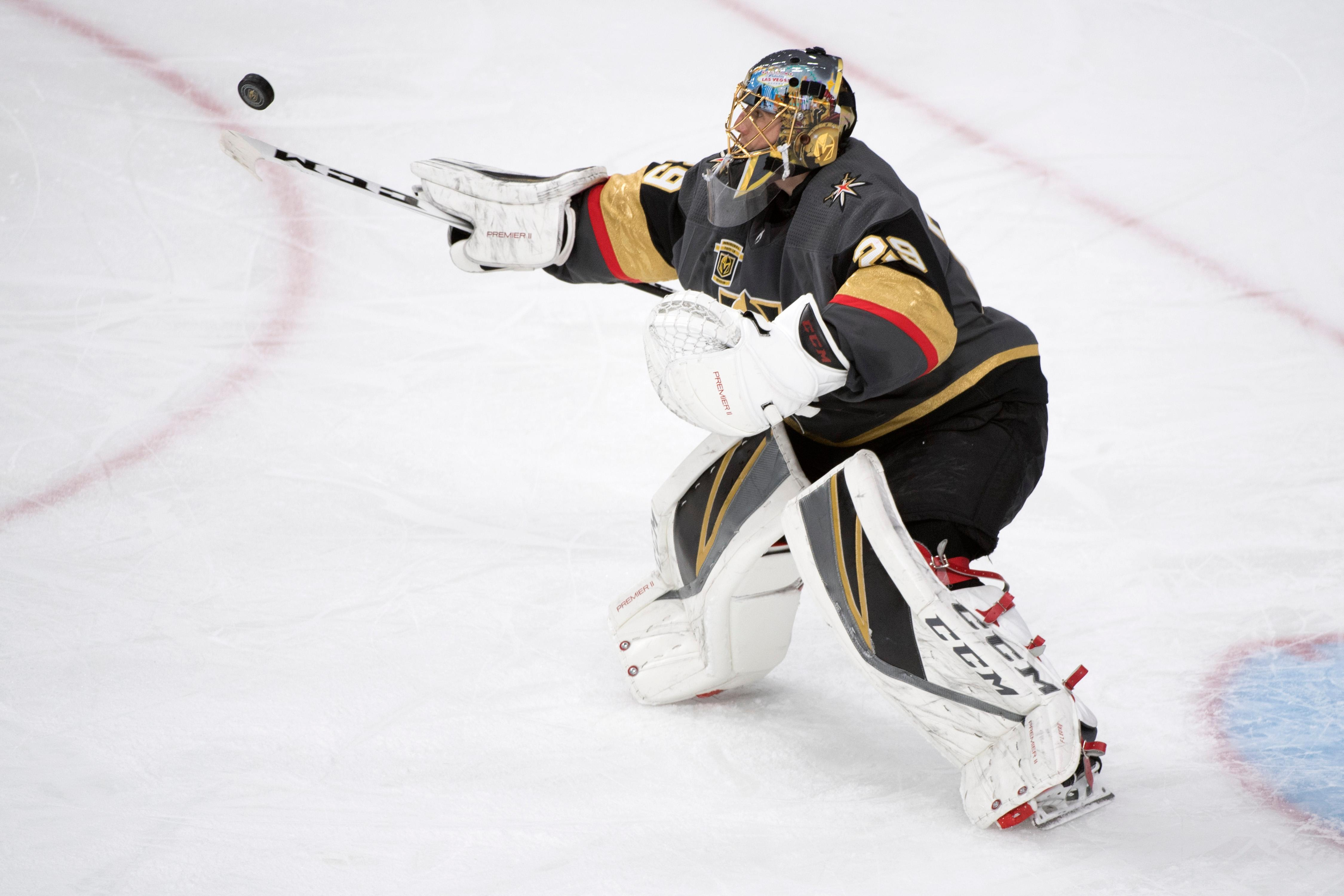 Vegas Golden Knights goaltender Marc-Andre Fleury (29) juggles the puck with his stick during the second period of Game 1 of their NHL hockey first-round playoff series against the Los Angeles Kings Wednesday, April 11, 2018 at T-Mobile Arena. The Knights won 1-0. CREDIT: Sam Morris/Las Vegas News Bureau
