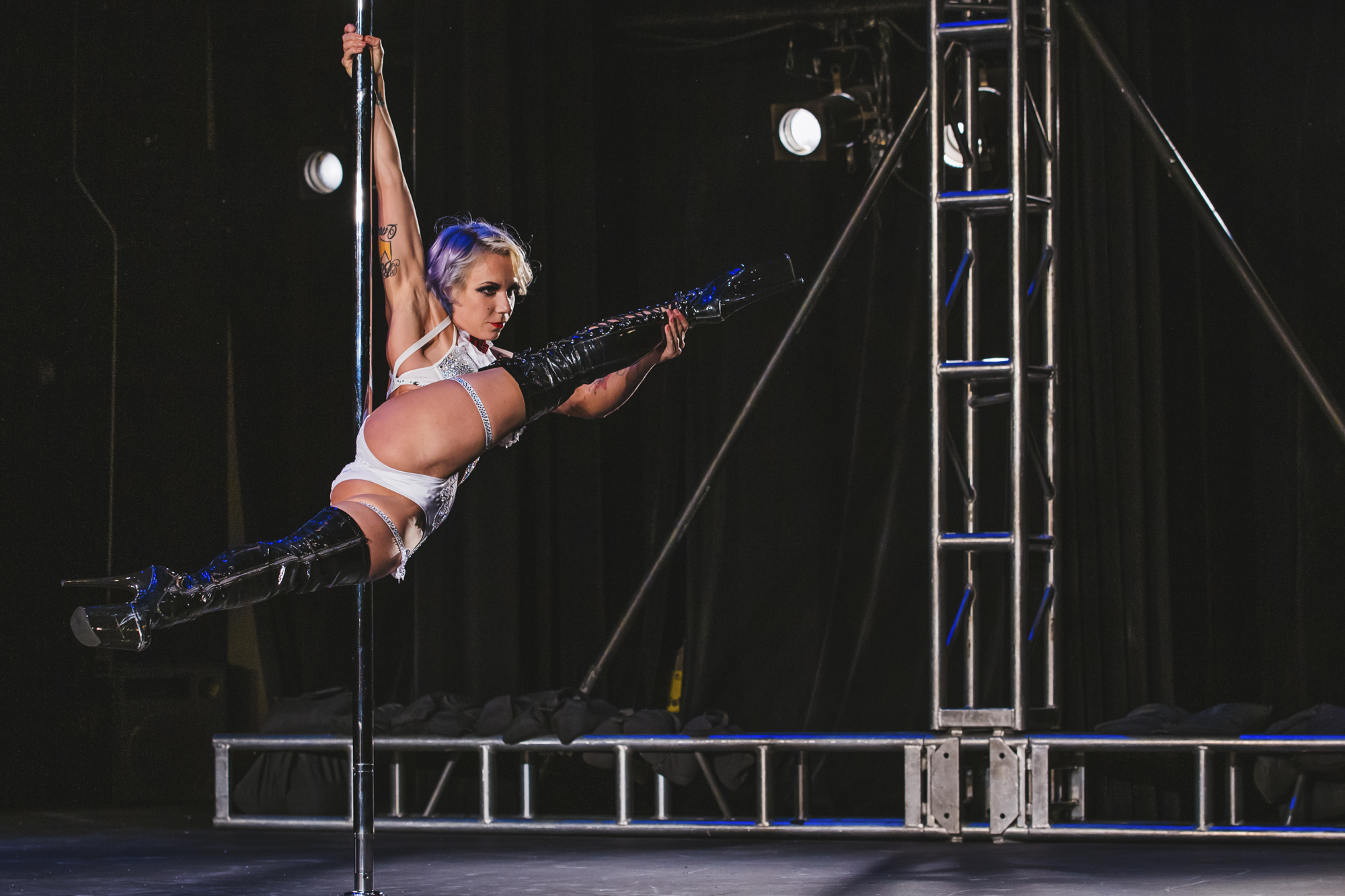 Work out at a gym, and think you're strong? Try lifting your full bodyweight and throwing it around a pole - and making it look nice! We saw some incredible feats of physicality at this weekend's 2018 Northwest Pole Championships. Competitive categories were Championship, Dramatic, Entertainment, Exotic, Doubles/Groups and Floorwork - with ages ranging from Junior (18-29) to Grand Master (50+). (Image: Sunita Martini / Seattle Refined)