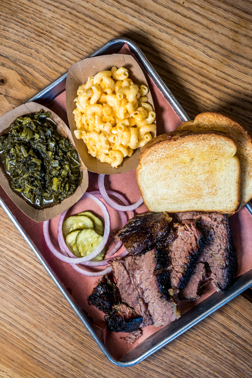 Brisket plate with greens, mac and cheese, onions, and pickles from Just Q'in / Image: Catherine Viox // Published: 8.28.20
