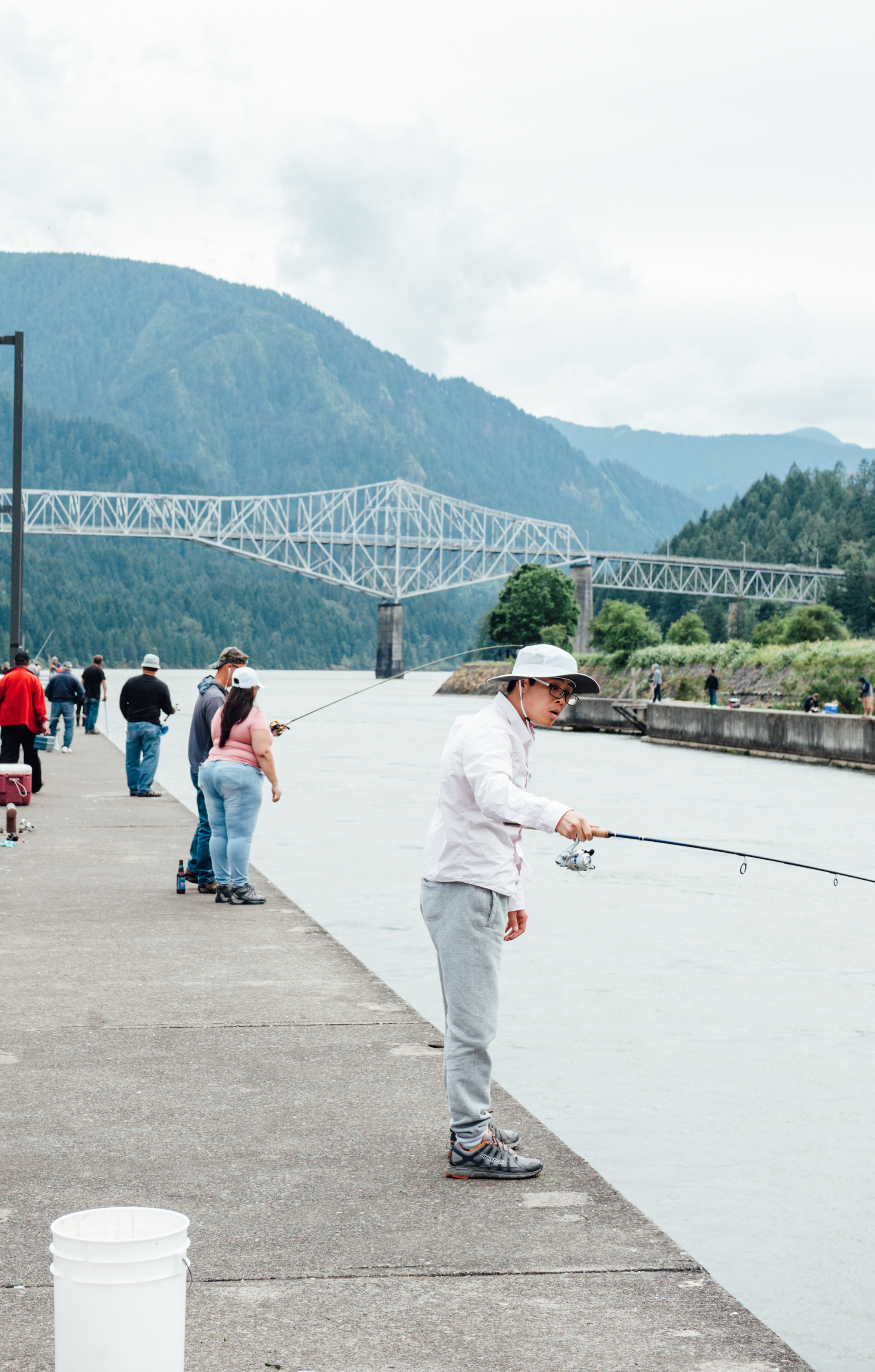 Driving along I-84 you can easily make unexpected detours. That is how we turned off the road to check out The Bridge of the Gods in Cascade Locks. The Cascade Locks Marine Park will give you a great view of the bridge and a nice break from driving to watch fisherman cast a line into the river. (Image: Elizabeth Crook / Seattle Refined)