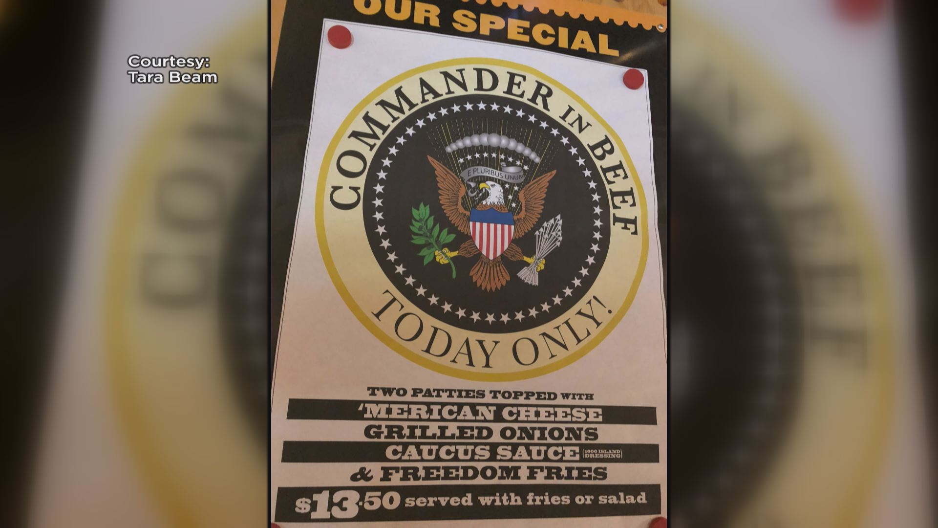 The Commander in Beef Burger for one day only, when the POTUS visits Montana.