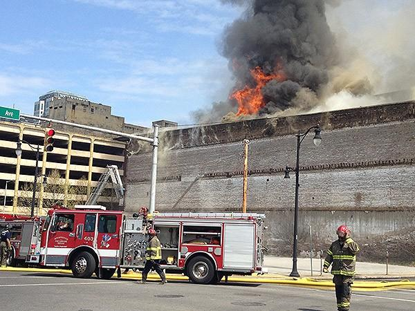 Birmingham Fire and Rescue on the scene of a large building fire downtown on Friday, March 29, 2013.
