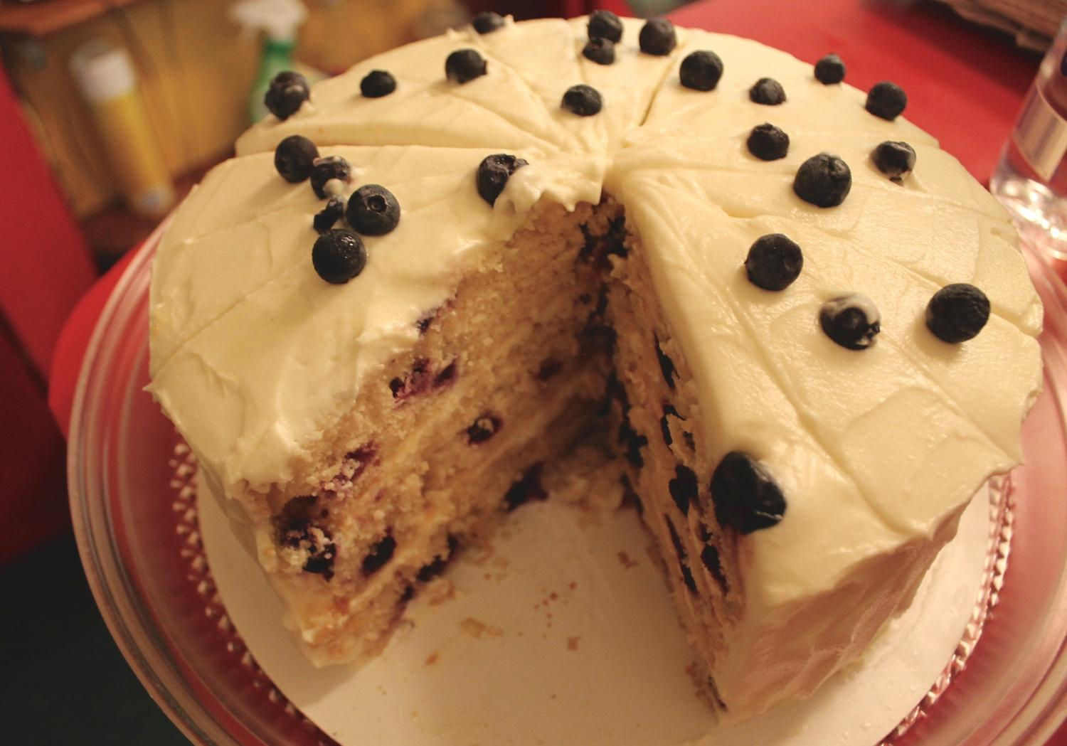 Lemon Blueberry Cake with cream cheese frosting / Image: Rose Brewington // Published: 7.29.17