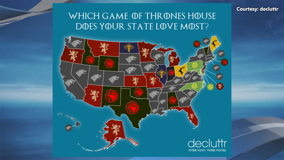 Most searched Game of Thrones houses by state ahead of season premiere