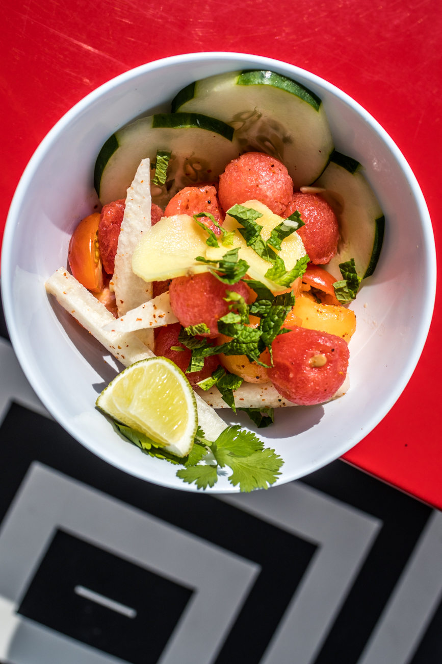 Watermelon Salad: watermelon, jicama, lime, mint, and Tajín / Image: Catherine Viox{ }// Published: 8.2.20