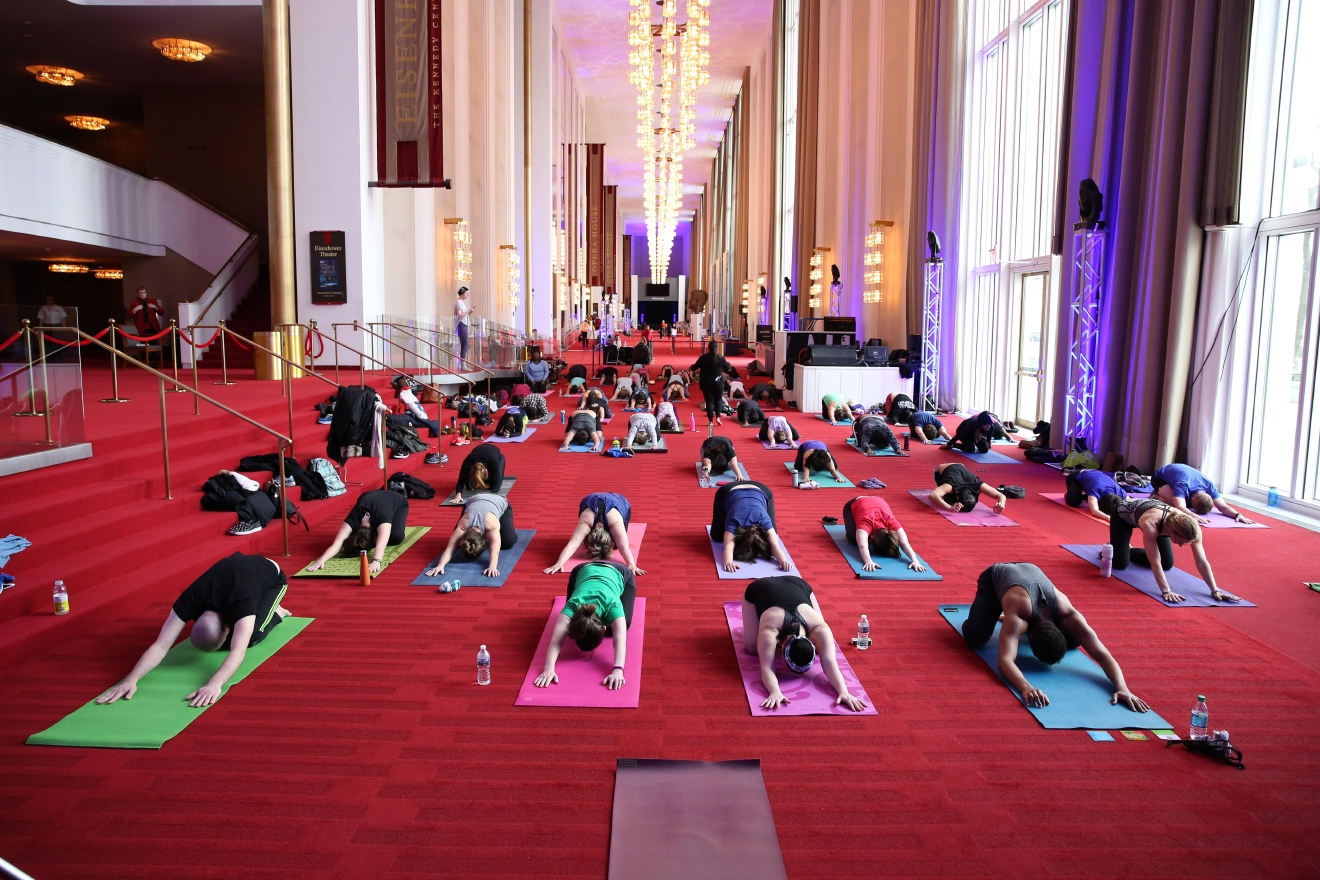 Enjoy a free, all-levels vinyasa yoga class in the Grand Foyer as part of the Kennedy Center's Sound Health program connecting the performing arts to mind-body wellness. (Image: Amanda Andrade-Rhoades/DC Refined)