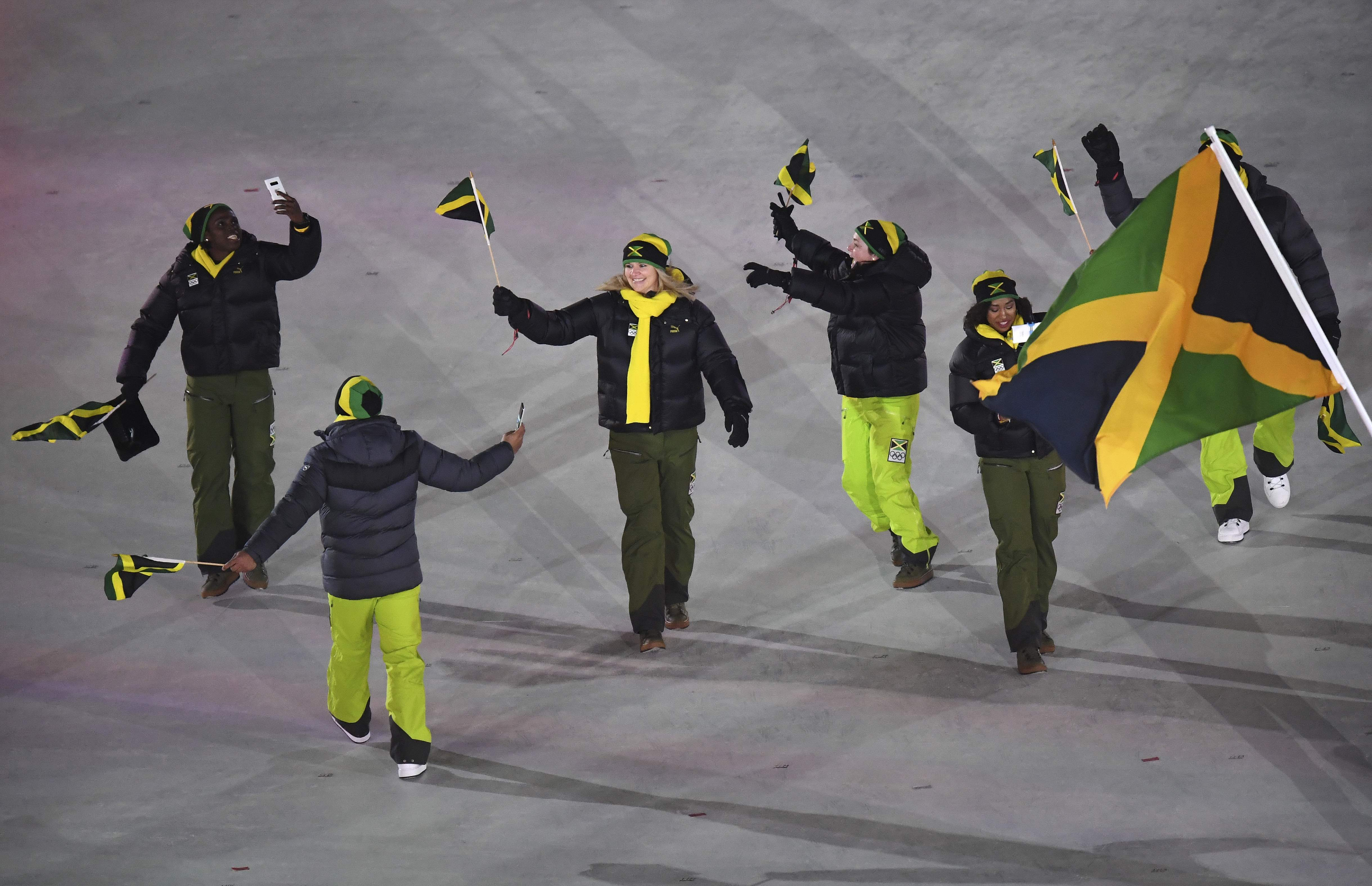 Jamaica arrives during the opening ceremony of the 2018 Winter Olympics in Pyeongchang, South Korea, Friday, Feb. 9, 2018. (Franck Fife/Pool Photo via AP)