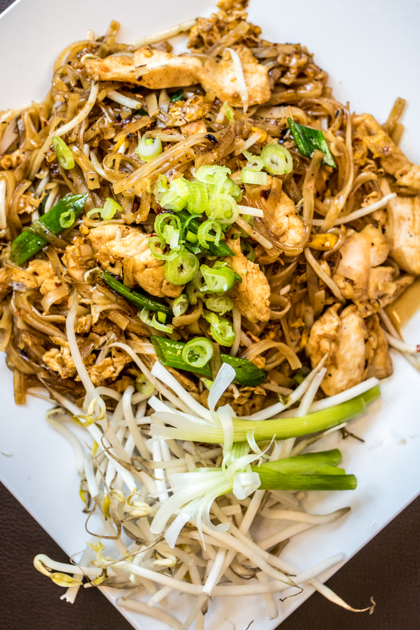 Noodles Thai Style (Pad Thai): stir fried rice noodles, roasted peanuts, egg, bean sprouts, and chopped green onion with chicken / Image: Catherine Viox{ }// Published: 8.19.20