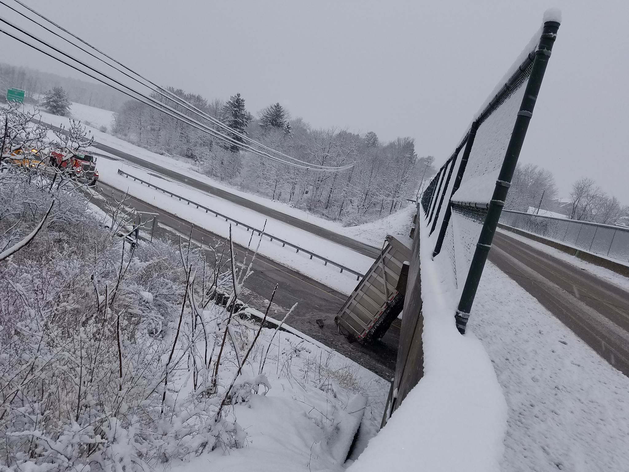 Bridge remains open following PennDOT truck striking into it