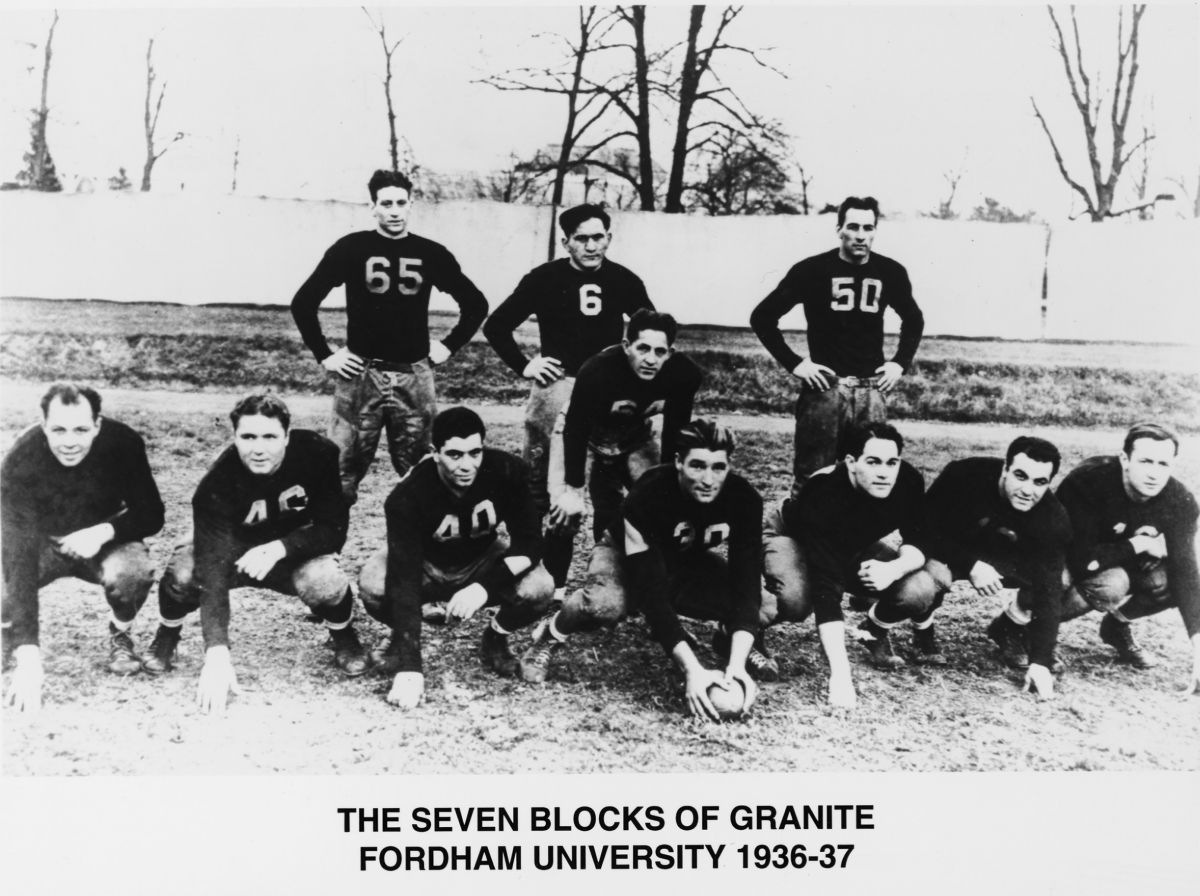 One of the Seven Blocks of Granite on Fordham's famous offensive line in 1936-37, Lombardi is in the front row, third from left. (Courtesy Fordham University)