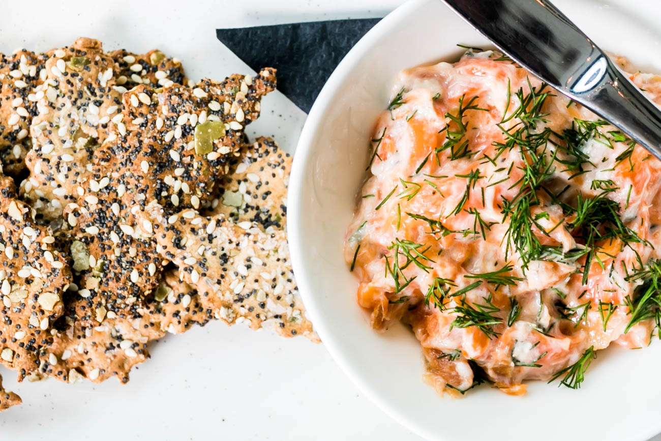 Smoked Ocean Trout with crème fraiche and dill  served with seeded crackers / Image: Amy Elisabeth Spasoff // Published: 4.23.18
