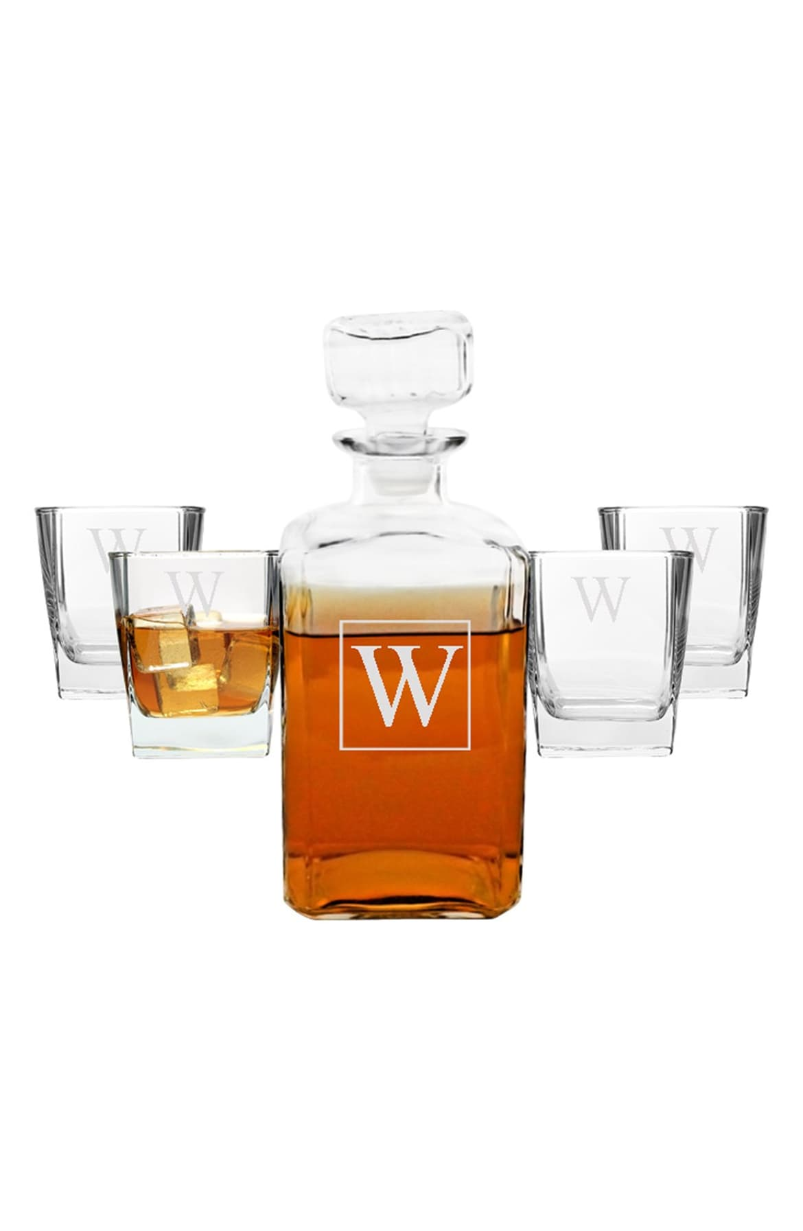 Keep it classy with this Monogram Five-Piece Decanter Set.  On sale for $56.28.   This set includes a handsome 34-oz. (Image: Nordstrom)