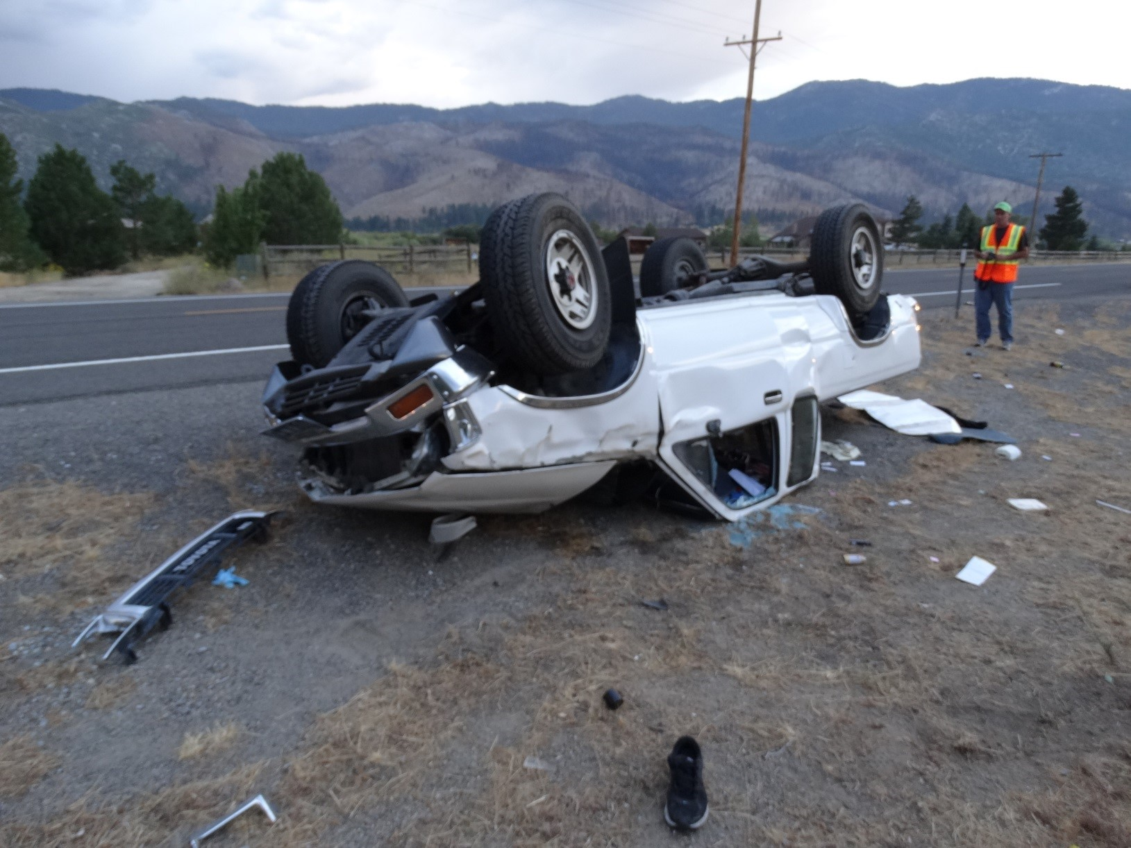 One dead after single-vehicle rollover on Old Hwy. 395 in Washoe Valley. (KRNV)