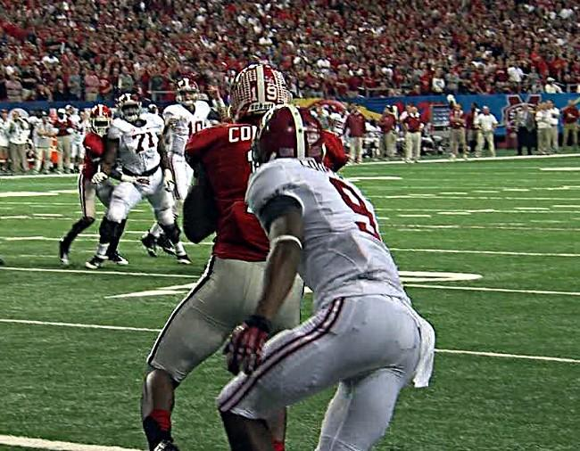 Georgia intercepts an AJ McCarron pass to Amari Cooper in the endzone during the 2012 SEC Championship in Atlanta on Saturday, December 1, 2012.