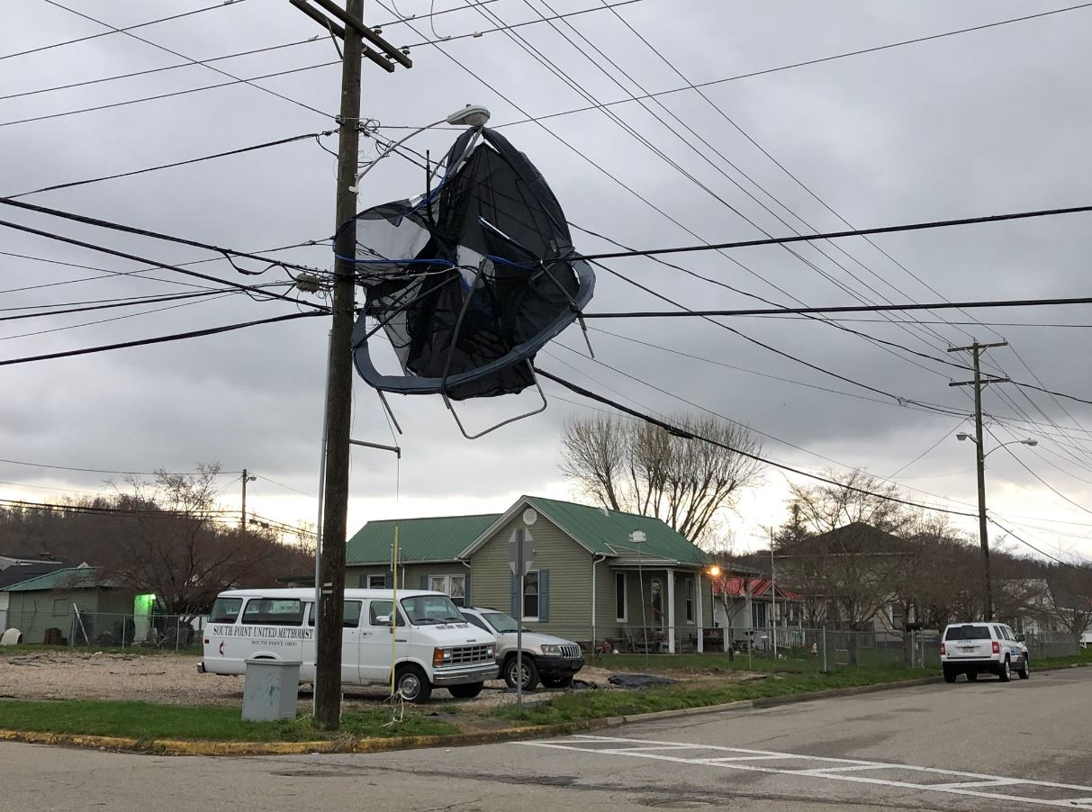 A trampoline is tangled in power lines in Point Pleasant after an overnight thunderstorm. (WCHS/WVAH)