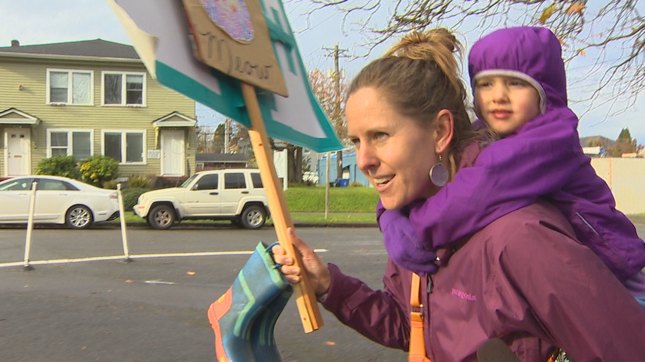 Anti-Trump protesters rally peacefully in Tacoma, Wash. on Saturday, Nov. 19, 2016. (KOMO)