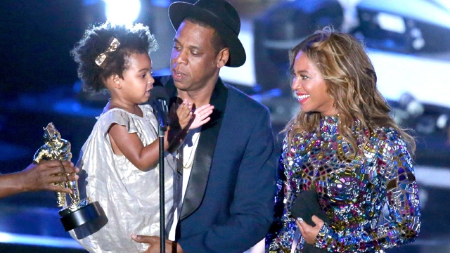Jay Z and Beyonce appear onstage with daughter Blue Ivy Carter during the 2014 MTV Video Music Awards on Aug. 24, 2014, in Inglewood, California.