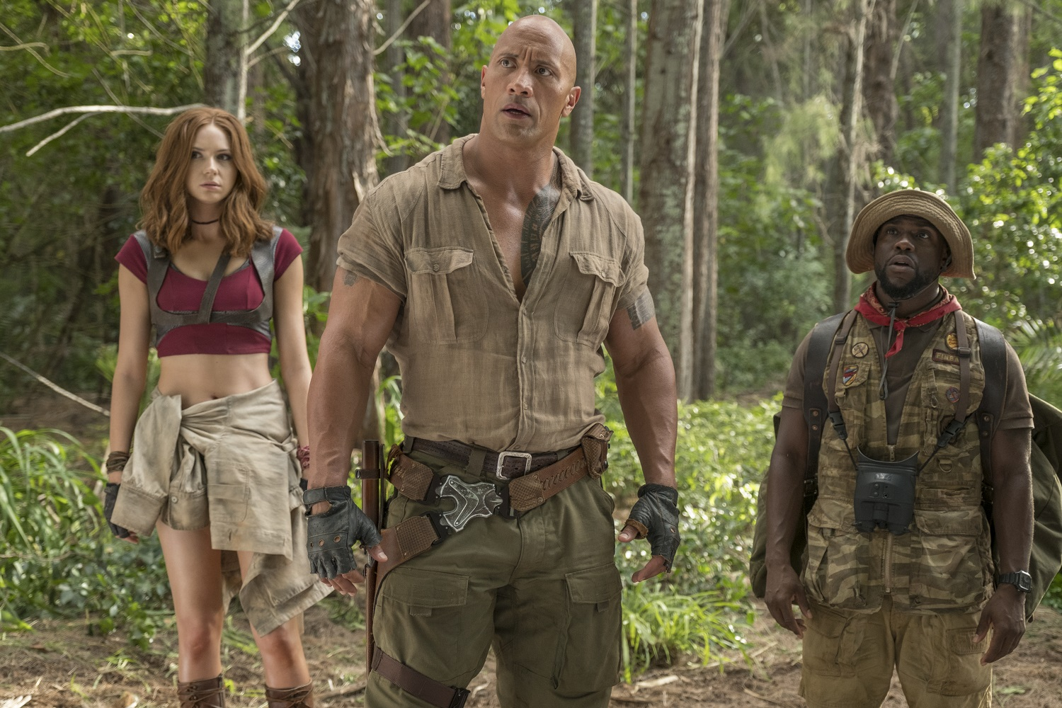 Karen Gillan, Dwayne Johnson and Kevin Hart star in JUMANJI: WELCOME TO THE JUNGLE.{ }(Photo: Sony)