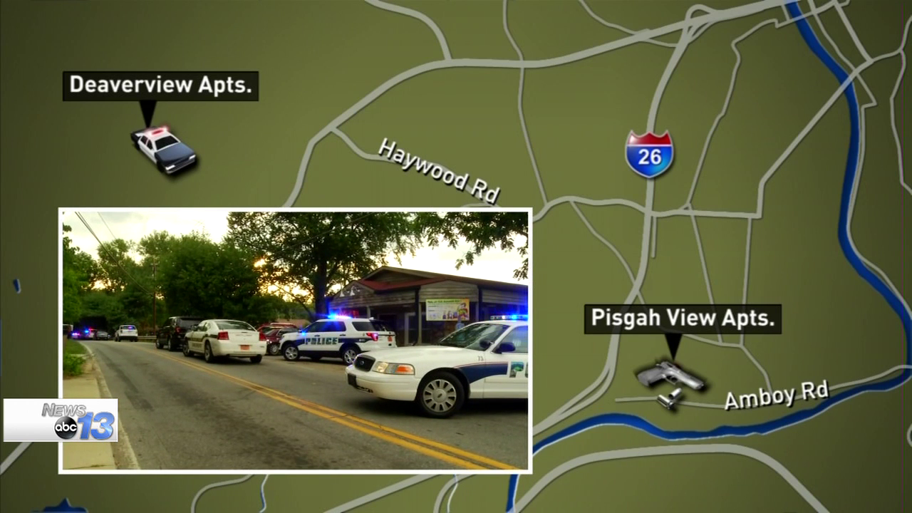 "(FILE) Police said calls first came in about ""shots fired"" at Pisgah View Apartments, and police got a description of a white vehicle on July 2.  (Photo credit: WLOS staff)"