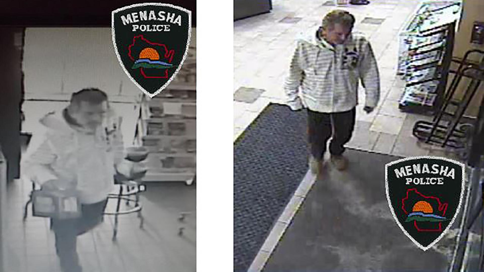 This surveillance image released by the Menasha Police Department shows a suspect who ran his car through the front door of JS Foods Jan. 28, 2018. (Image: Menasha Police Department)