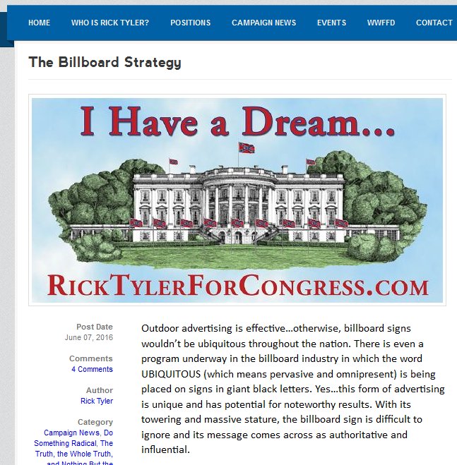 Tyler's website explains the billboard strategy. (Screen grab from RickTylerForCongress.com)