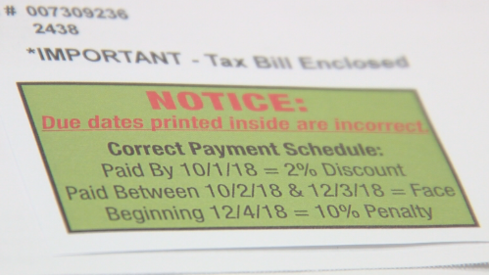 dasd real estate taxes printed with wrong due dates notice issued