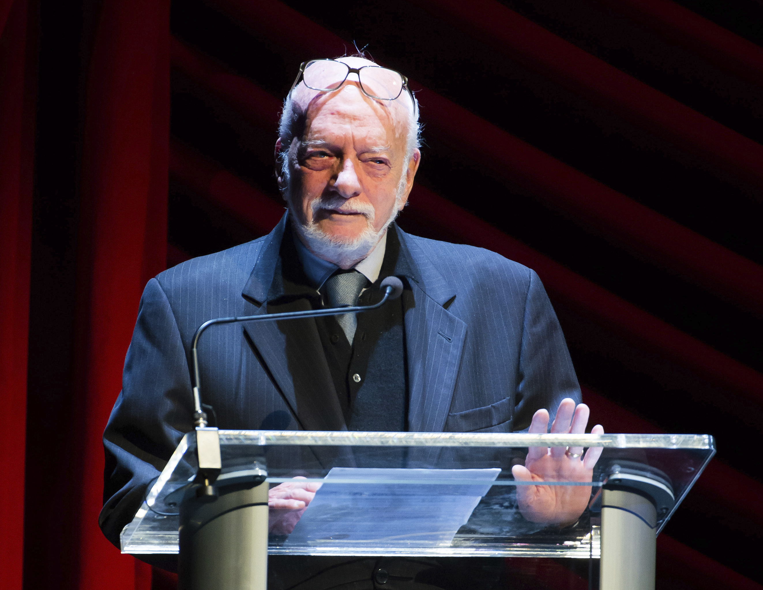 "FILE - In this Nov. 17, 2014 file photo, Harold ""Hal"" Prince appears on stage at ""Everybody, Rise! A Celebration of Elaine Stritch"" in New York.{ } (Photo by Charles Sykes/Invision/AP, File)"