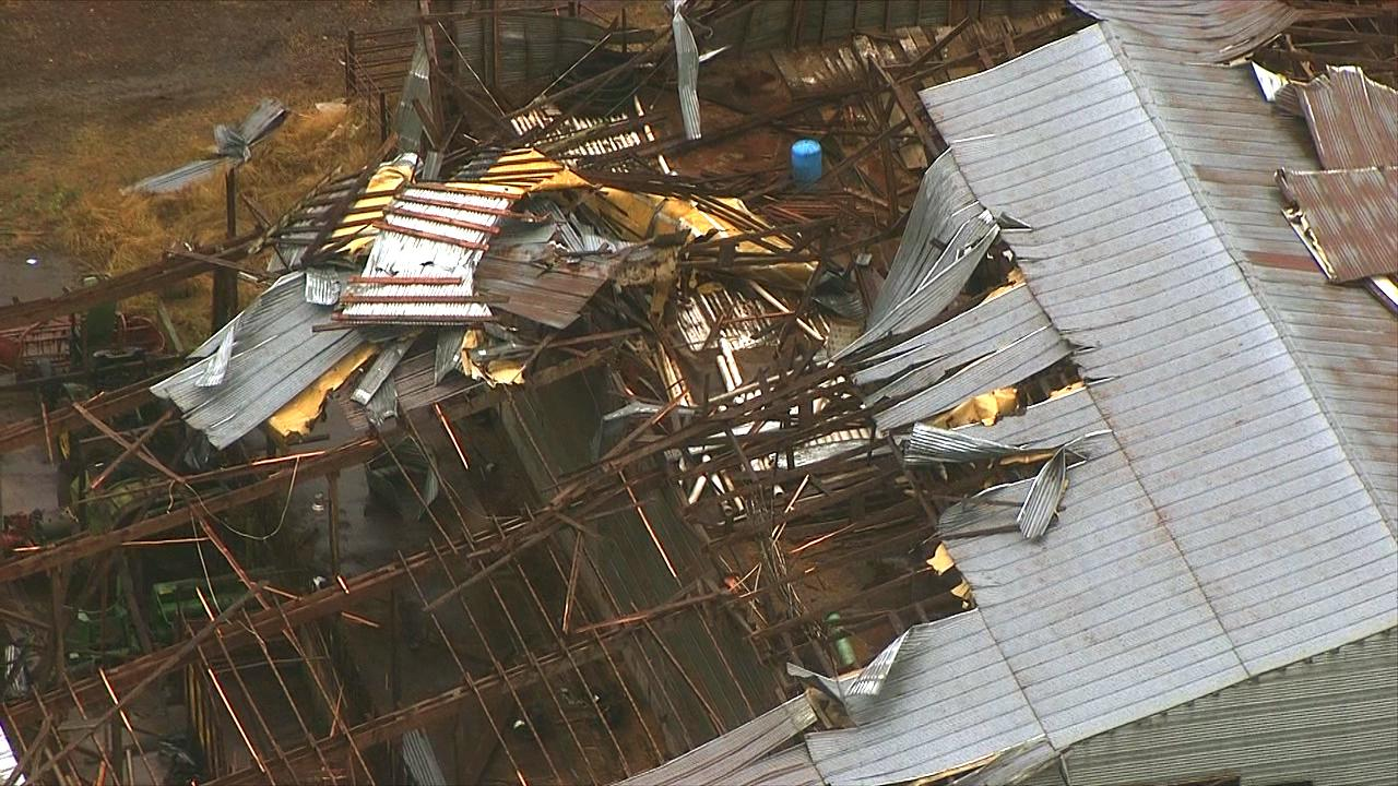 A possible tornado ripped this barn apart in Lacomb, Oregon near Lebanon, Tuesday, Sept. 19, 2017. (Photo: Chopper 2/KATU News)