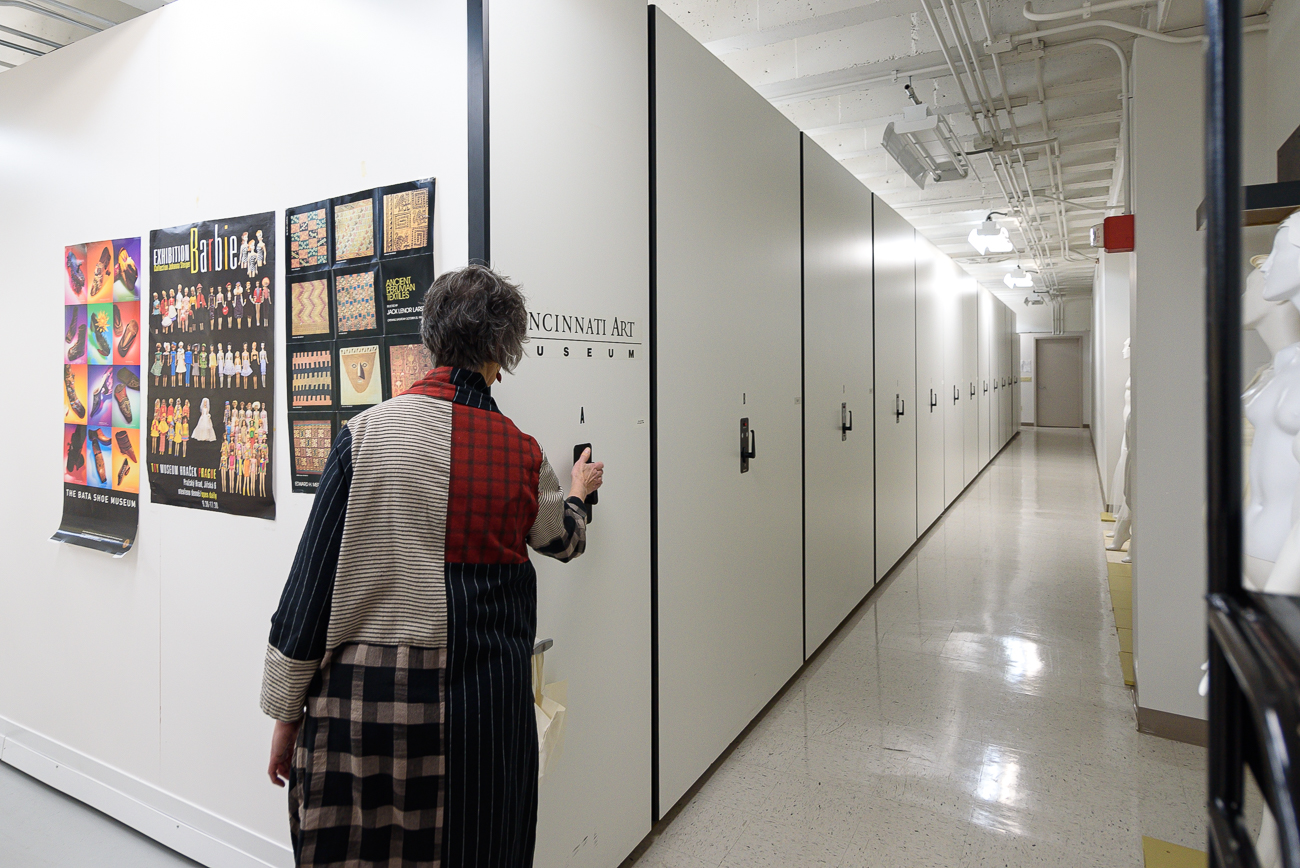 <p>Temperature controlled and without windows, the facility is filled with movable shelves to pack as much storage into the space as necessary. The shelves move automatically when a control panel is pressed at the end of each row. / Image: Phil Armstrong, Cincinnati Refined // Published: 2.18.20</p>