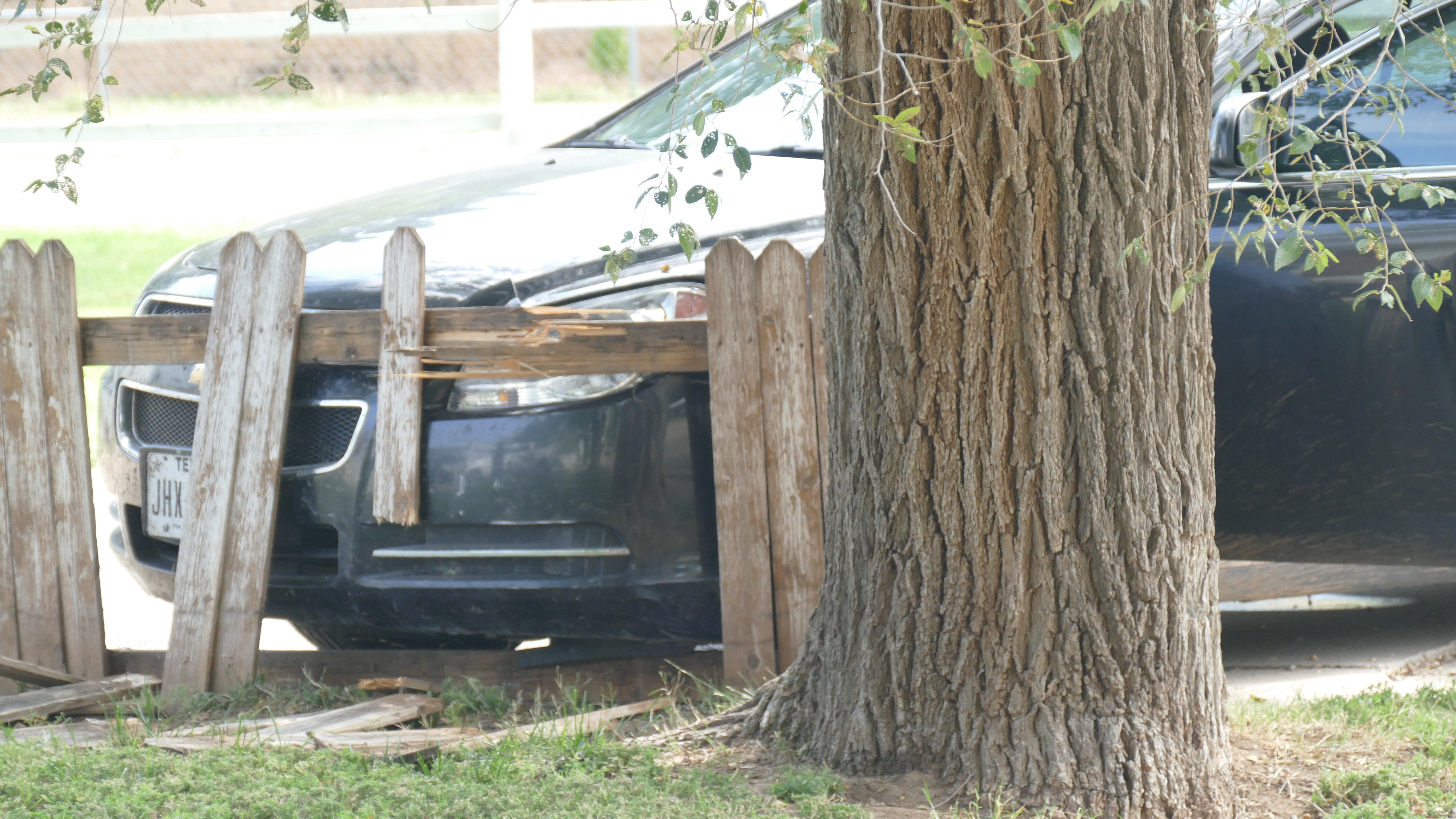 Amarillo police are searching for a woman after she tried to evade police, crashed a vehicle into a fence and fled on foot. (ABC 7 Amarillo - Steve Douglass)