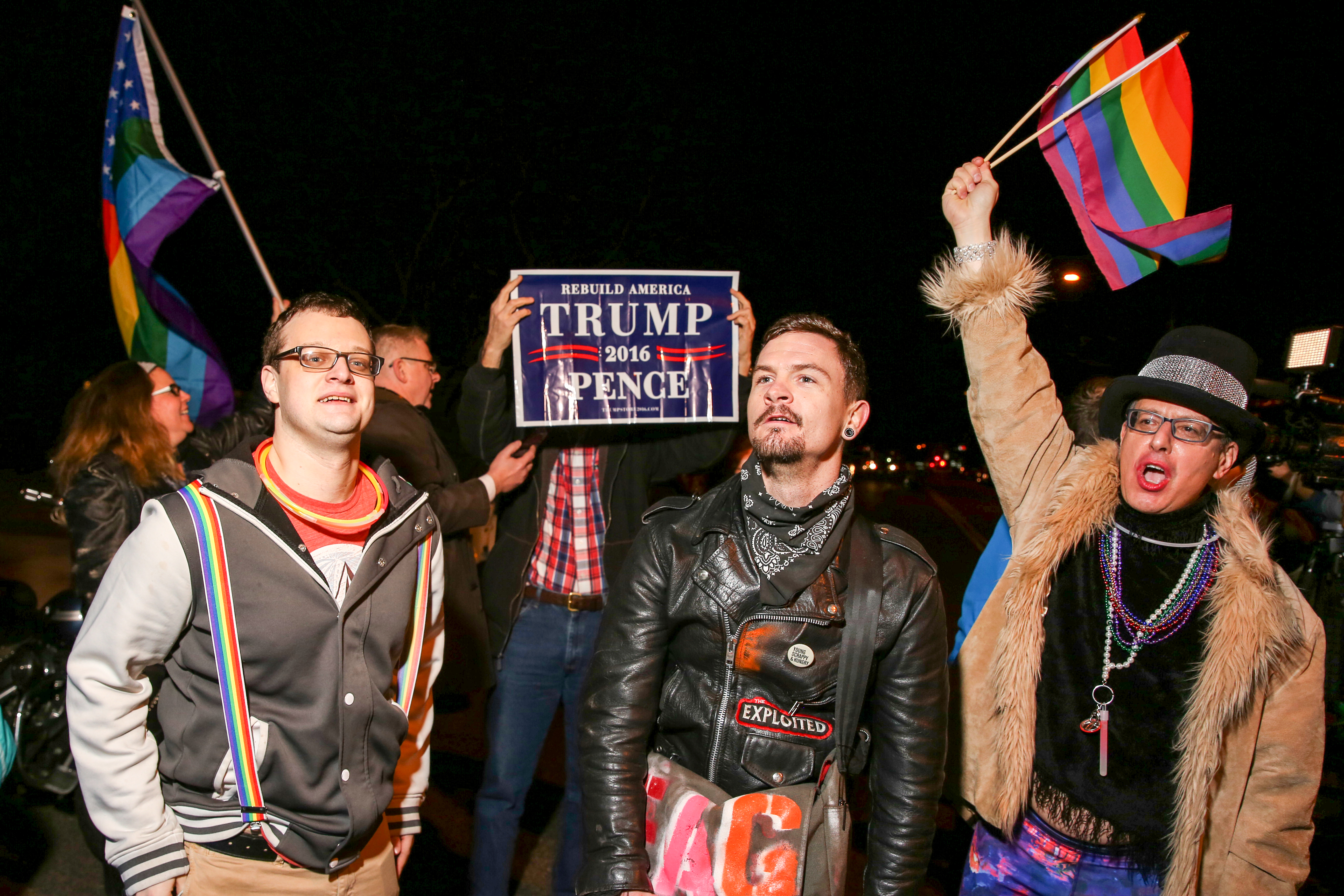 January, 2017. Protesters clash with Trump supporters before inauguration during a queer dance party outside of V.P. elect Mike Pence's temporary home in Chevy Chase. (Amanda Andrade-Rhoades/DC Refined)<p></p>